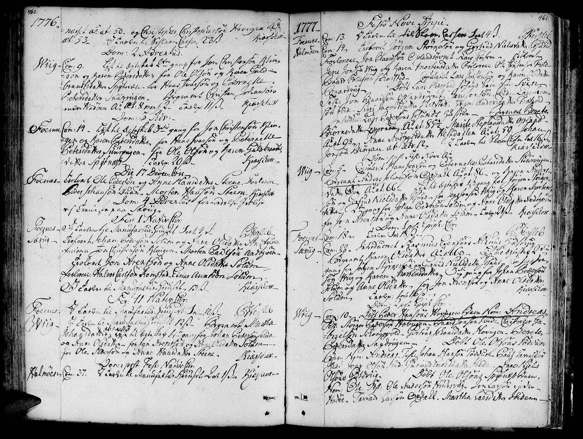 SAT, Ministerialprotokoller, klokkerbøker og fødselsregistre - Nord-Trøndelag, 773/L0607: Ministerialbok nr. 773A01, 1751-1783, s. 460-461