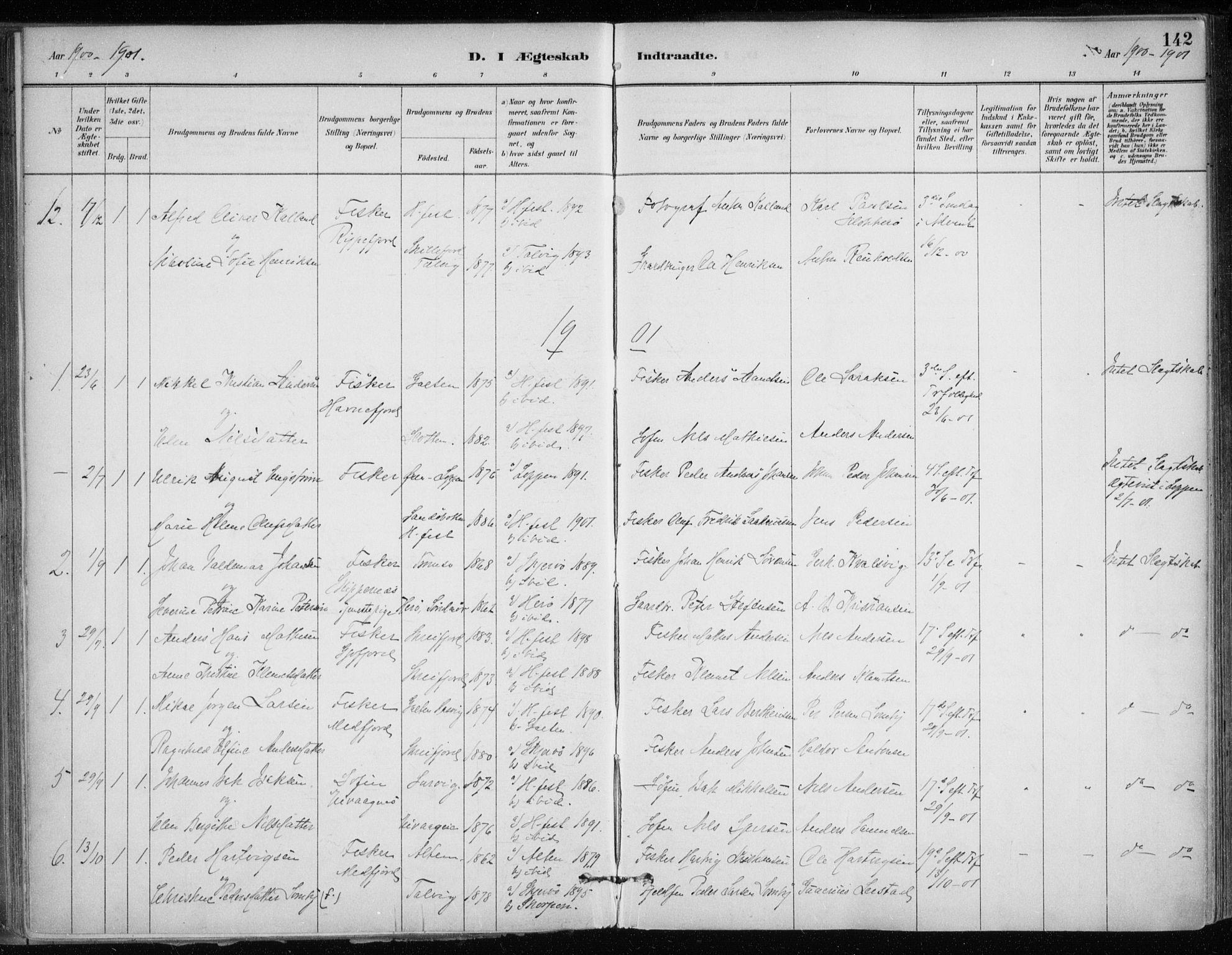 SATØ, Hammerfest sokneprestkontor, H/Ha/L0013.kirke: Ministerialbok nr. 13, 1898-1917, s. 142