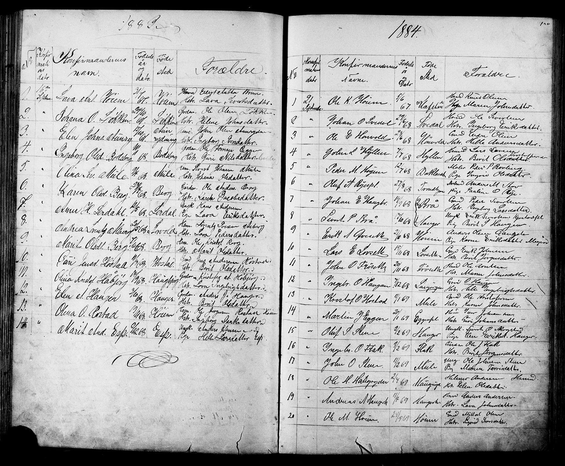 SAT, Ministerialprotokoller, klokkerbøker og fødselsregistre - Sør-Trøndelag, 612/L0387: Klokkerbok nr. 612C03, 1874-1908, s. 120