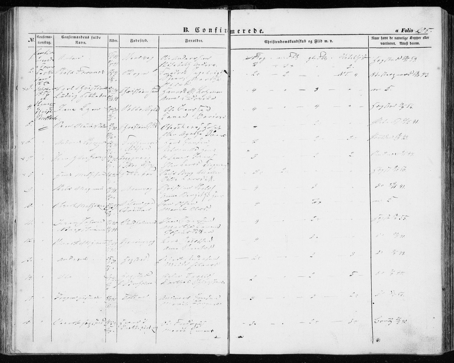 SAT, Ministerialprotokoller, klokkerbøker og fødselsregistre - Sør-Trøndelag, 634/L0530: Ministerialbok nr. 634A06, 1852-1860, s. 195