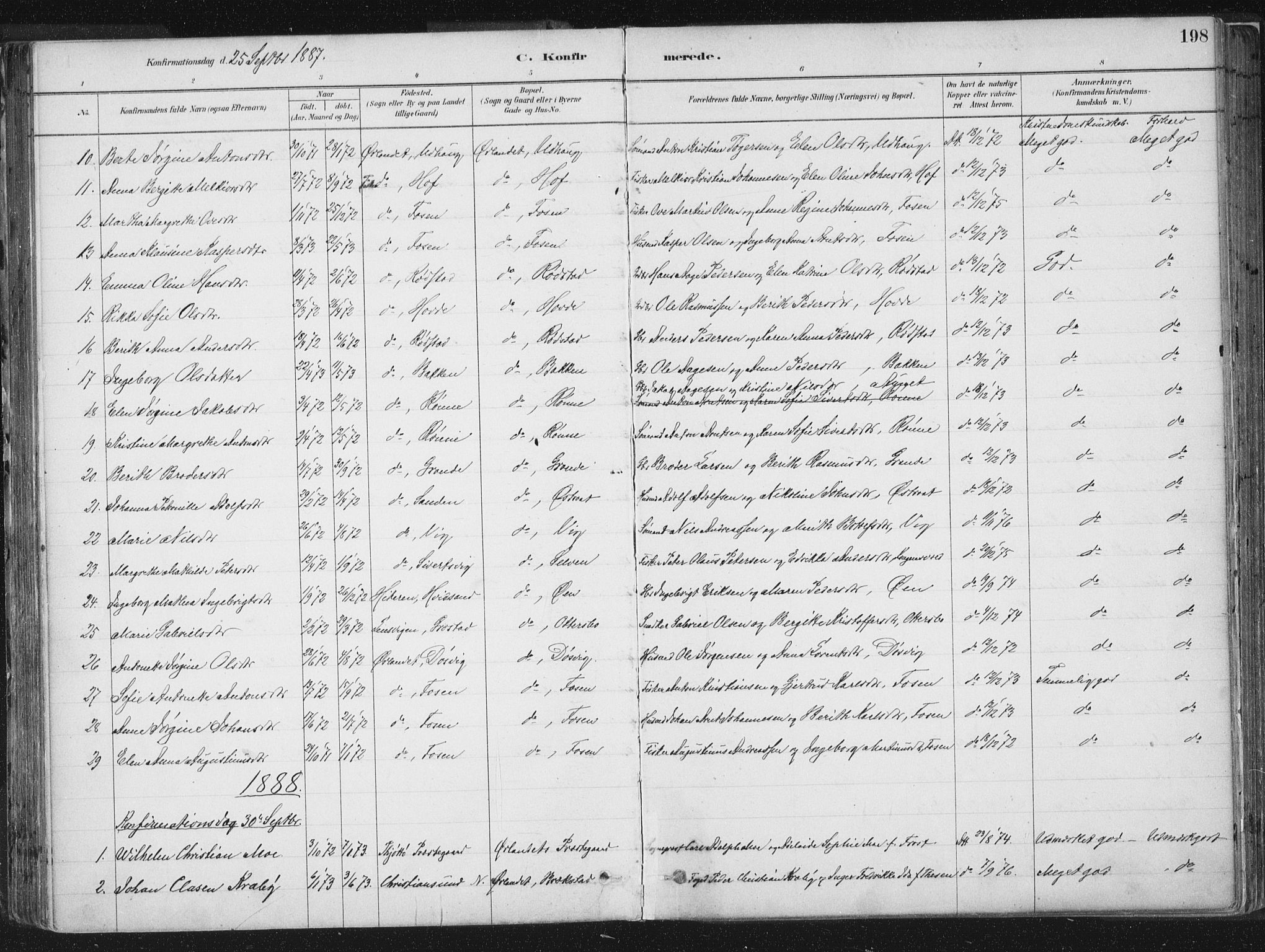 SAT, Ministerialprotokoller, klokkerbøker og fødselsregistre - Sør-Trøndelag, 659/L0739: Ministerialbok nr. 659A09, 1879-1893, s. 198