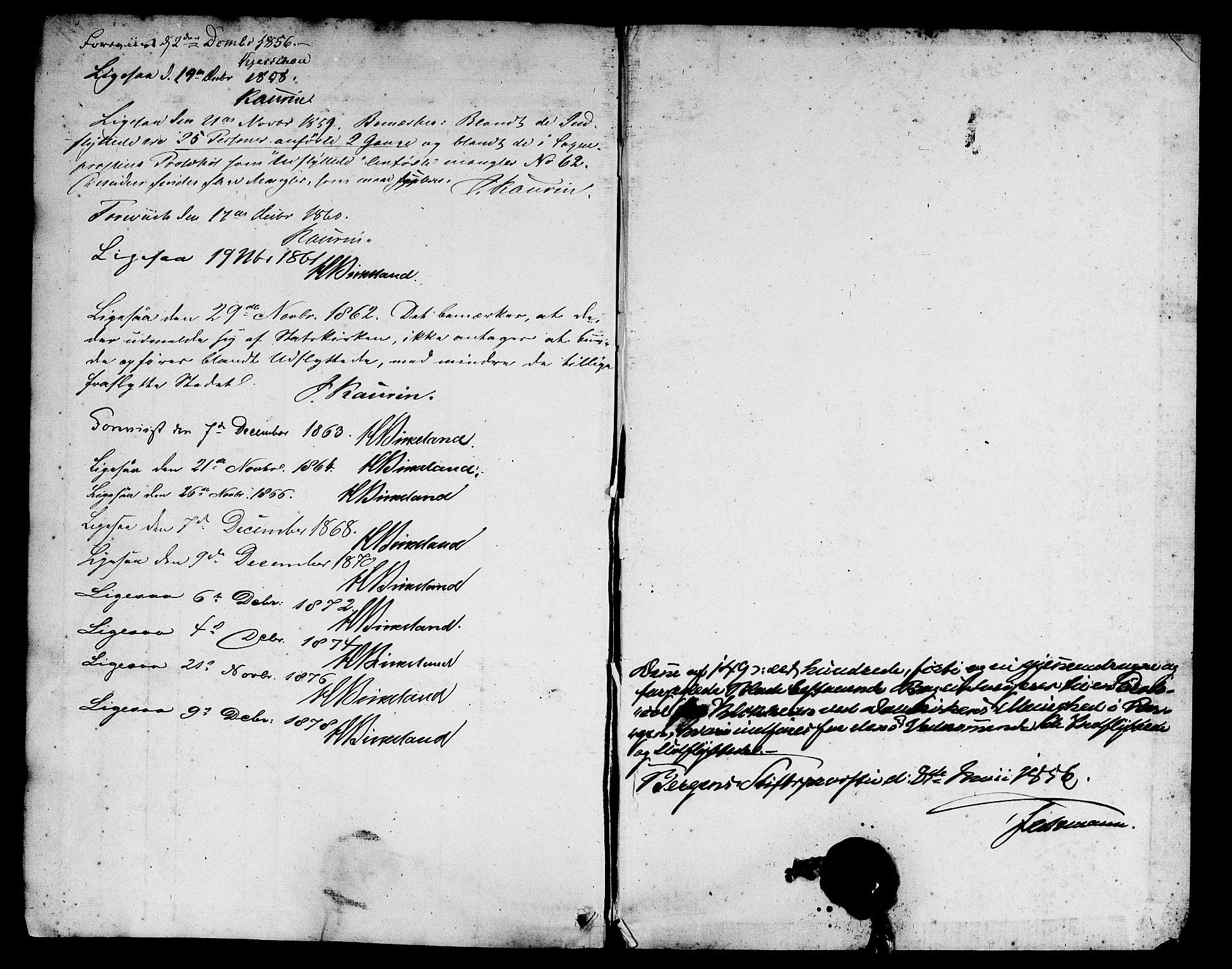 SAB, Domkirken Sokneprestembete, H/Hab/L0044: Klokkerbok nr. F 1, 1856-1879