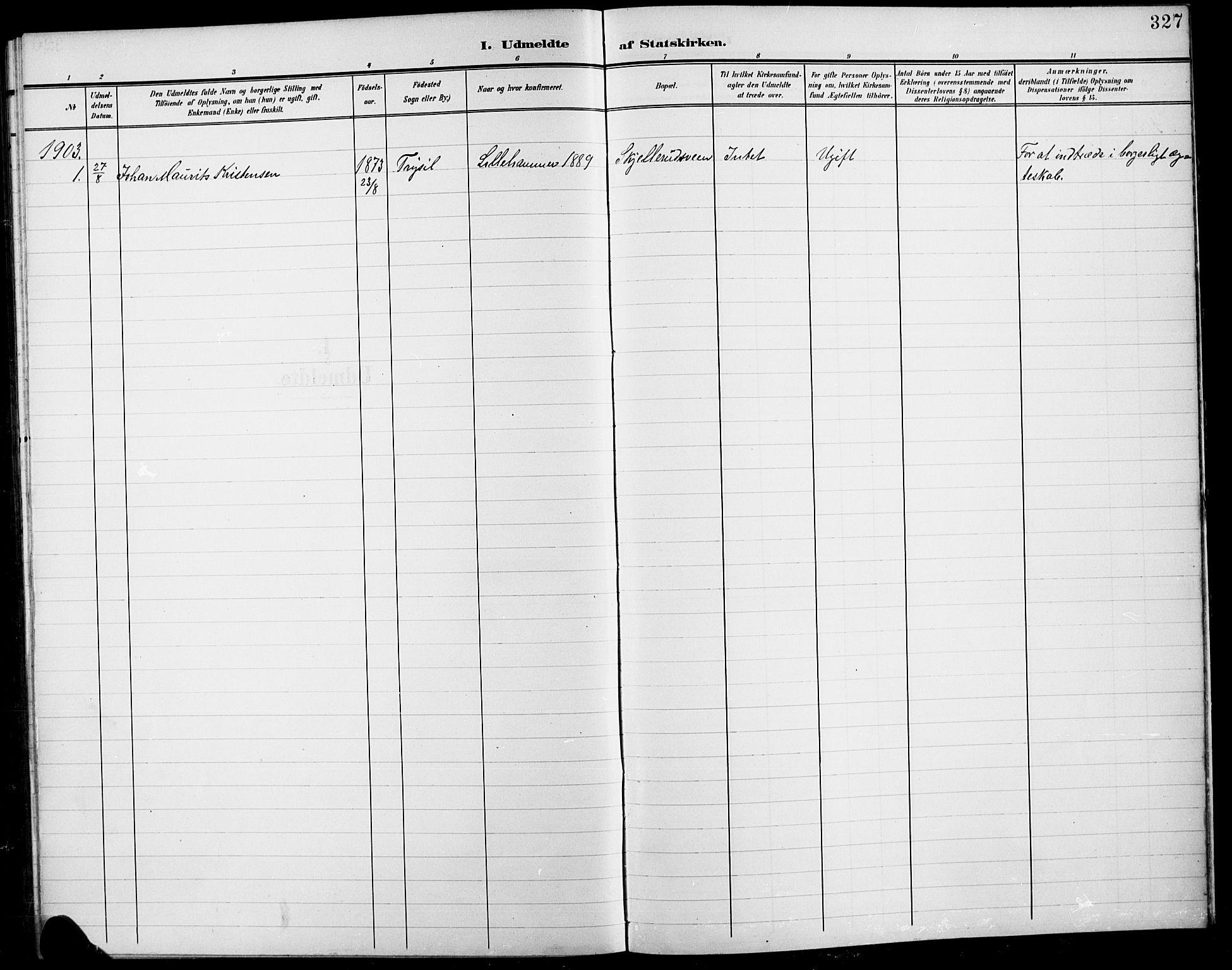 SAH, Fåberg prestekontor, H/Ha/Hab/L0012: Klokkerbok nr. 12, 1903-1924, s. 327