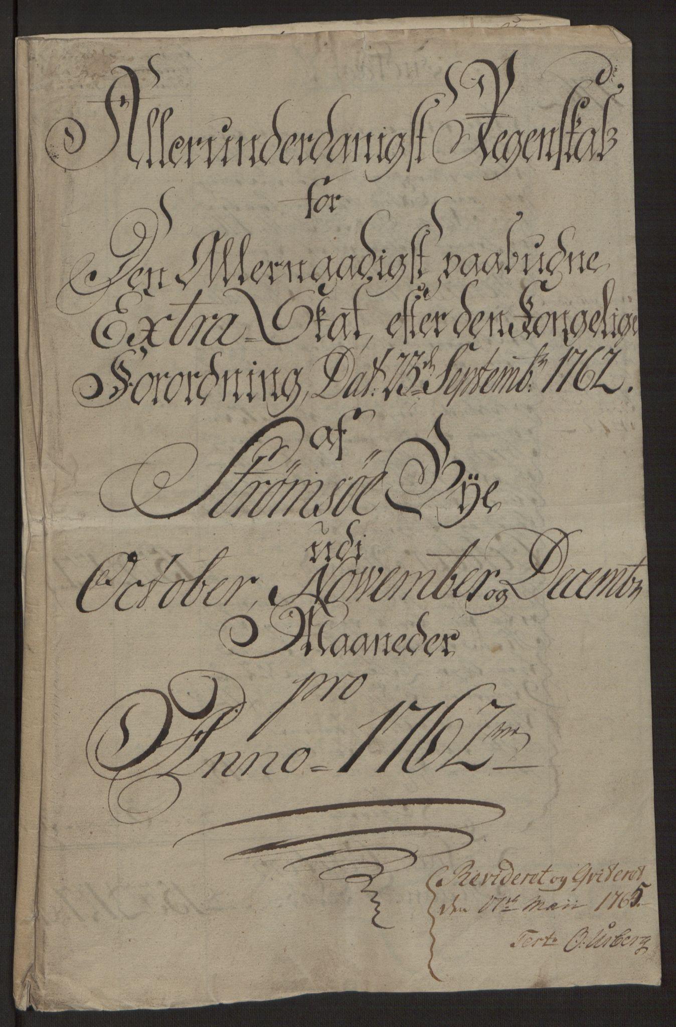 RA, Rentekammeret inntil 1814, Reviderte regnskaper, Byregnskaper, R/Rg/L0144: [G4] Kontribusjonsregnskap, 1762-1767, s. 4