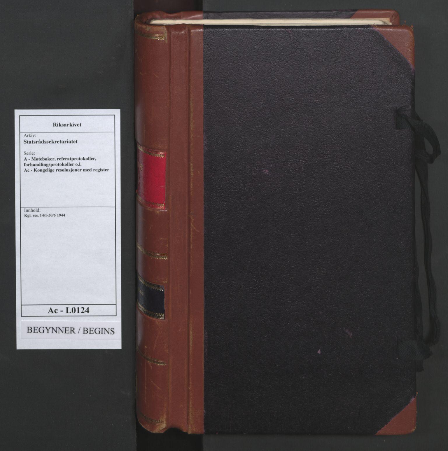 RA, Statsrådssekretariatet, A/Ac/L0124: Kgl. res. 14/1-30/6, 1944, s. upaginert