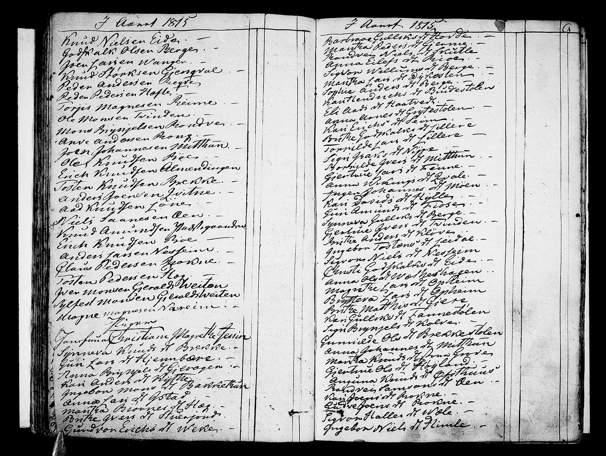 SAB, Voss Sokneprestembete, H/Haa: Ministerialbok nr. A 10, 1810-1821, s. 64