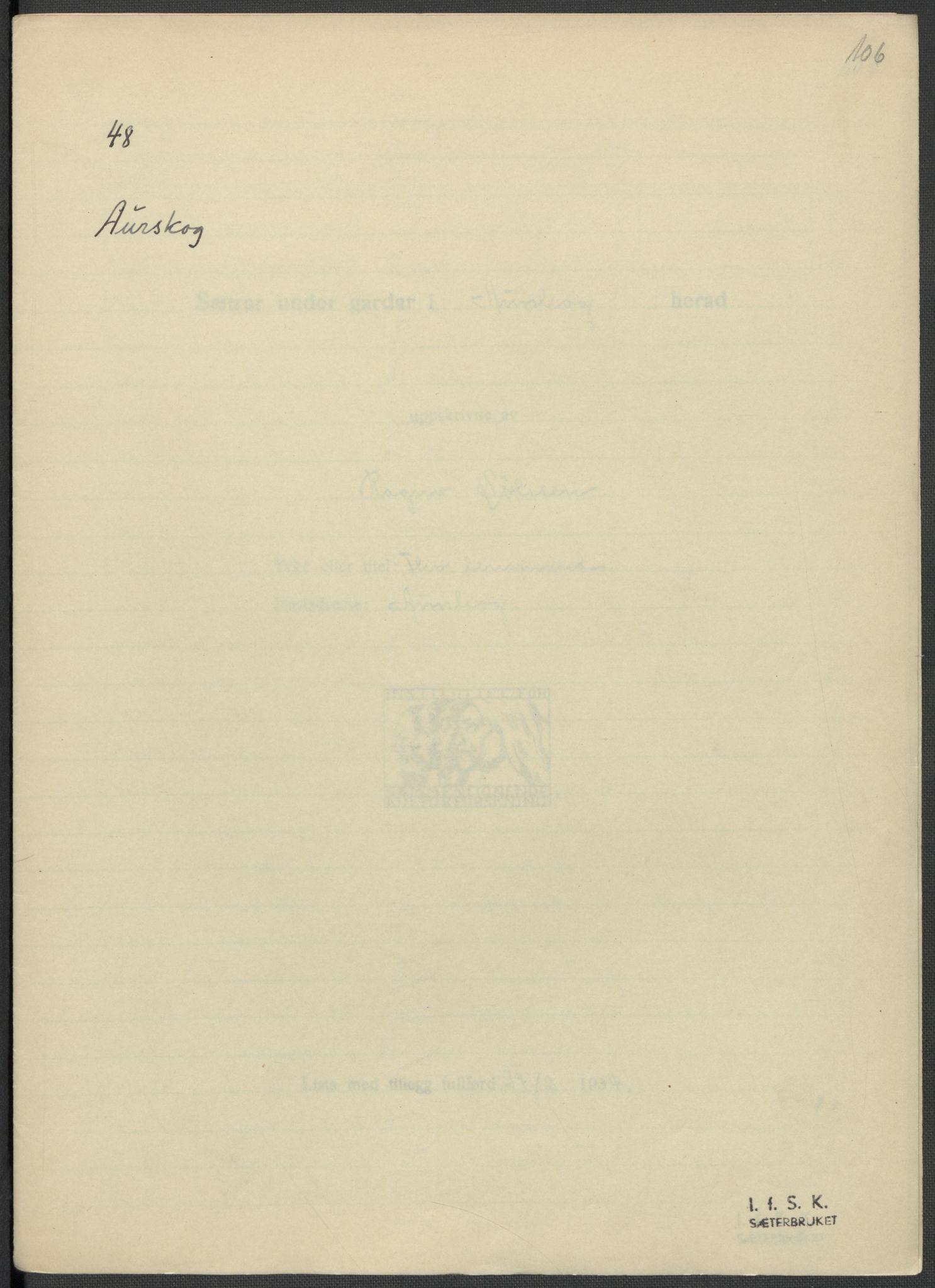 RA, Instituttet for sammenlignende kulturforskning, F/Fc/L0002: Eske B2:, 1932-1936, s. 106