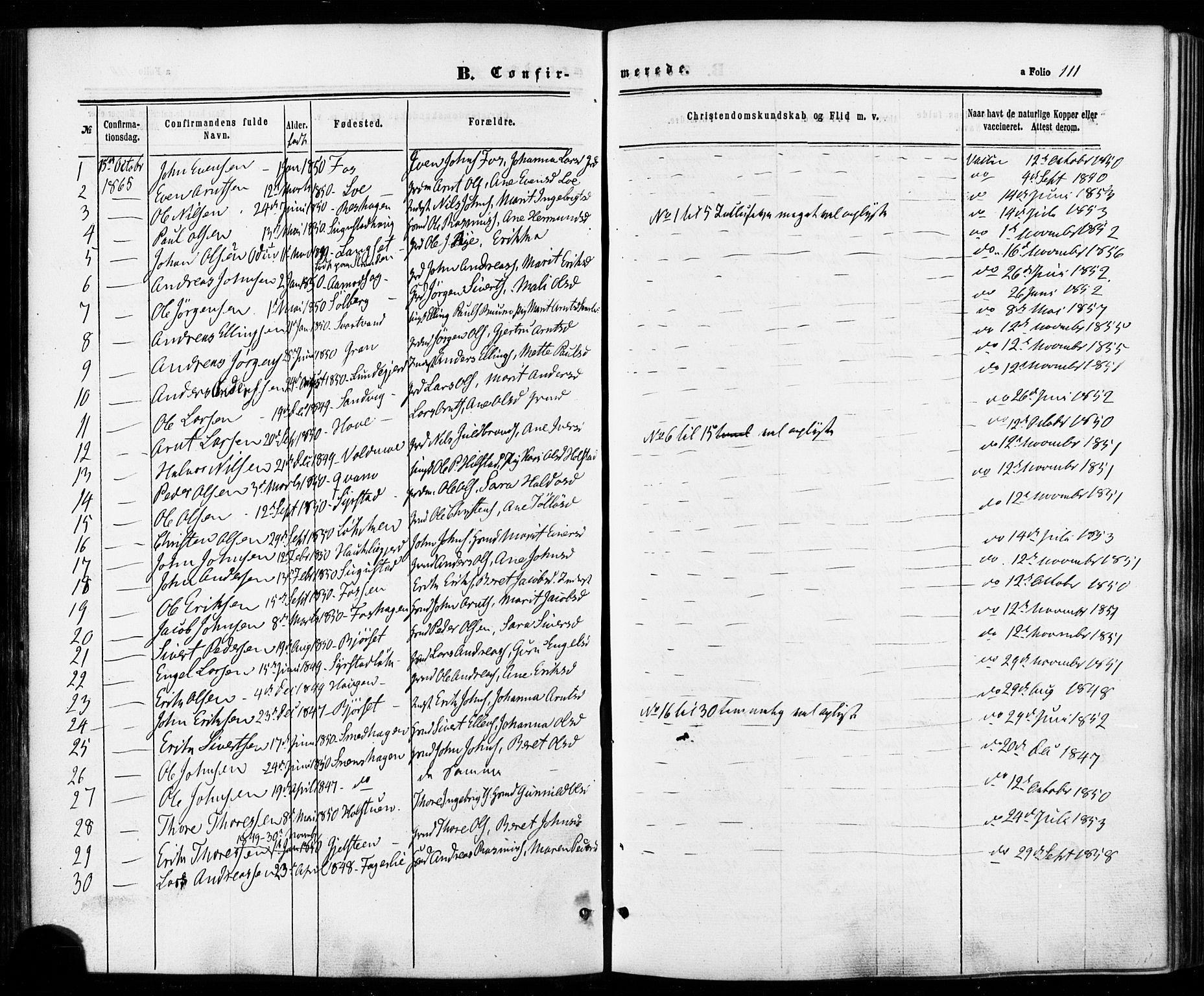 SAT, Ministerialprotokoller, klokkerbøker og fødselsregistre - Sør-Trøndelag, 672/L0856: Ministerialbok nr. 672A08, 1861-1881, s. 111