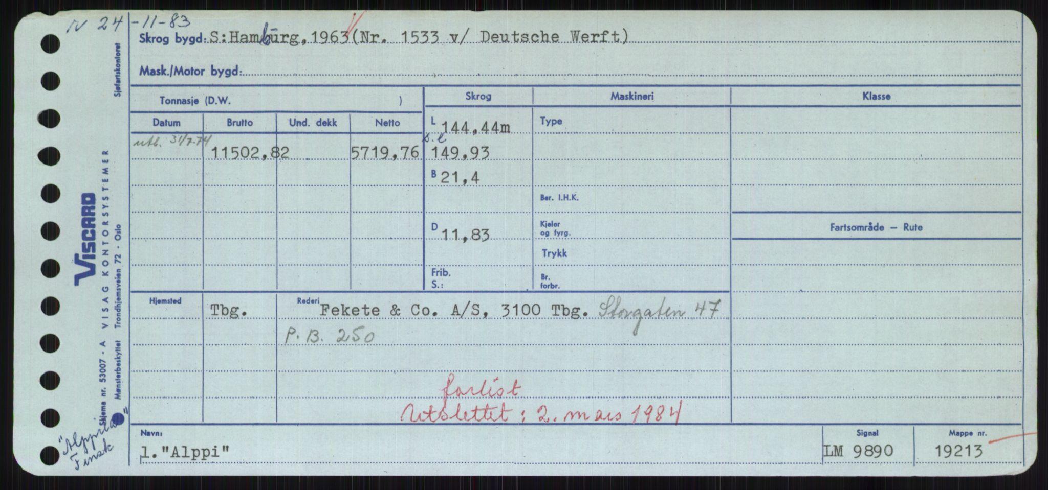 RA, Sjøfartsdirektoratet med forløpere, Skipsmålingen, H/Hd/L0001: Fartøy, A-Anv, s. 395