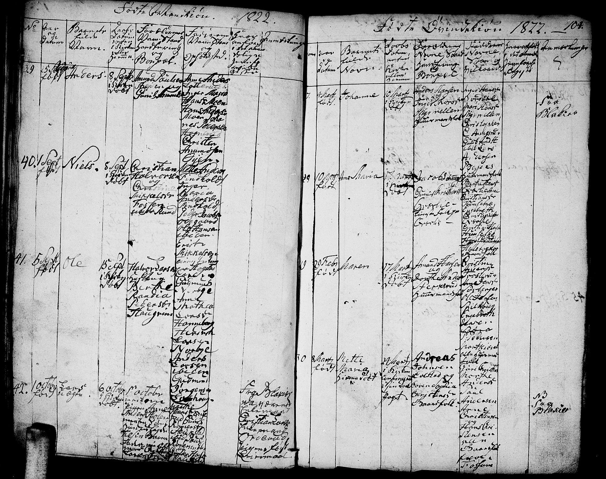 SAO, Aurskog prestekontor Kirkebøker, F/Fa/L0005: Ministerialbok nr. I 5, 1814-1829, s. 104