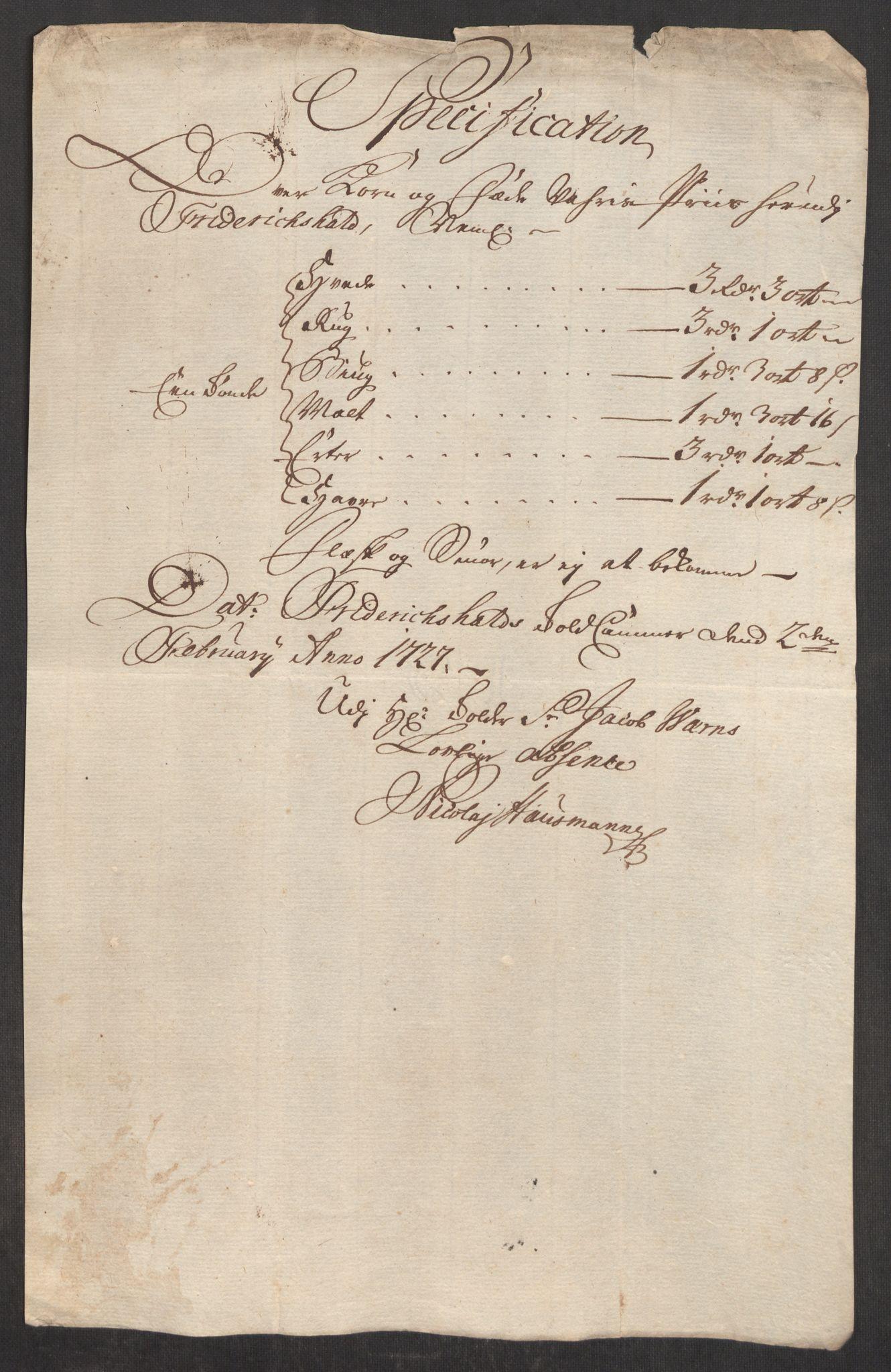 RA, Rentekammeret inntil 1814, Realistisk ordnet avdeling, Oe/L0001: [Ø1]: Priskuranter, 1712-1739, s. 285
