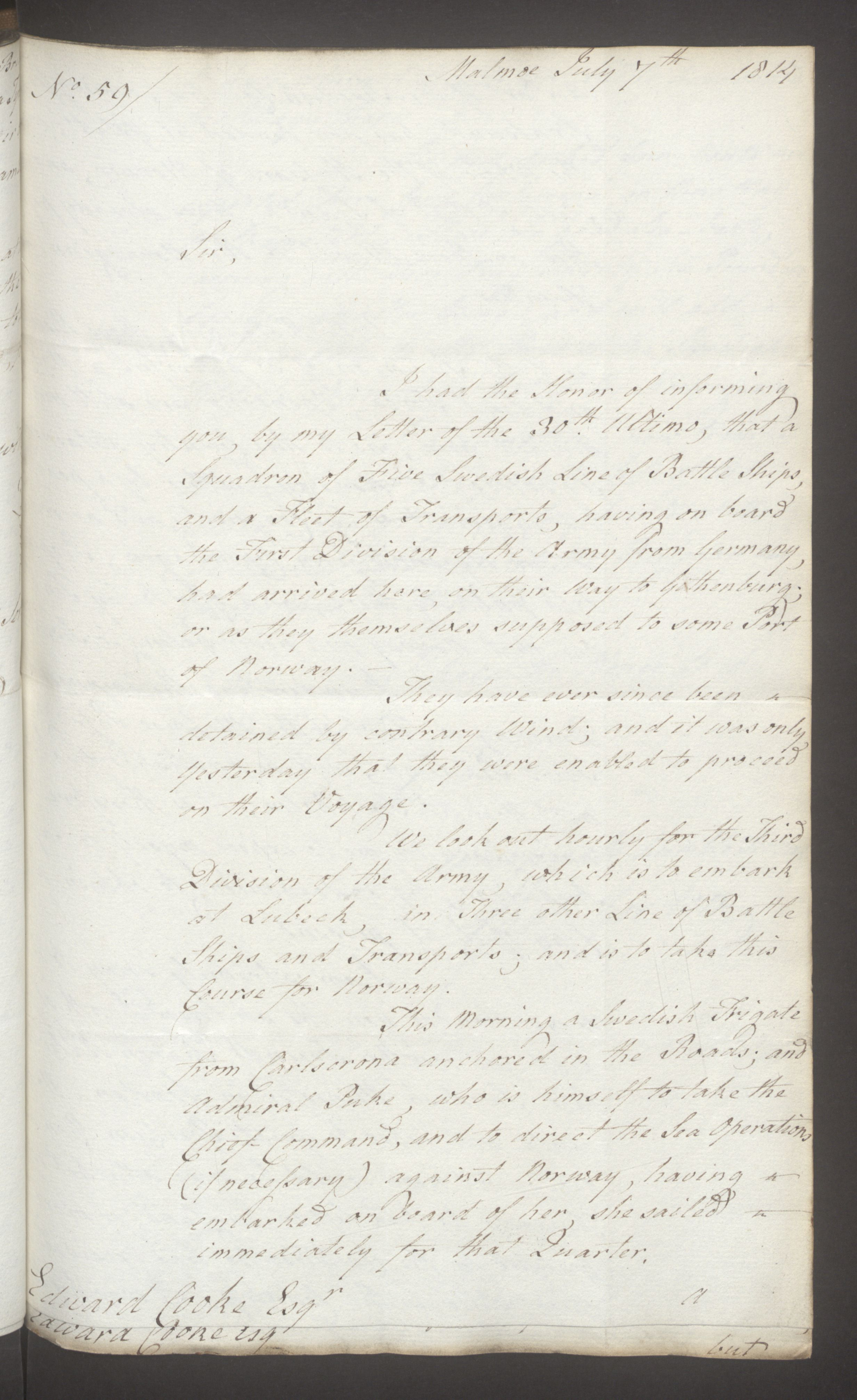 UKA, Foreign Office*, FO 38/16: Sir C. Gordon. Reports from Malmö, Jonkoping, and Helsingborg, 1814, s. 71