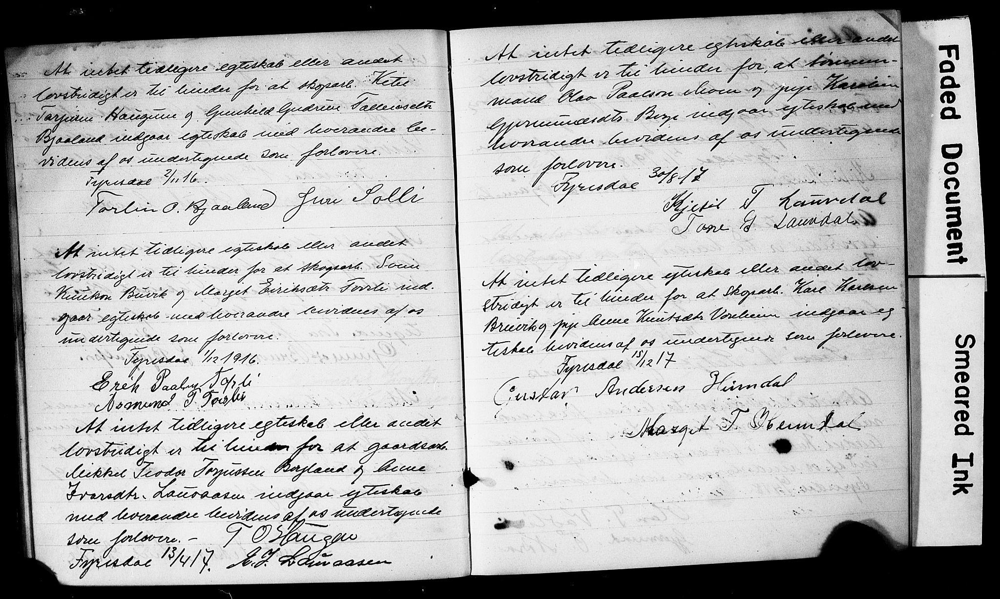 SAKO, Fyresdal kirkebøker, H/Hb/L0002: Forlovererklæringer nr. 2, 1897-1918