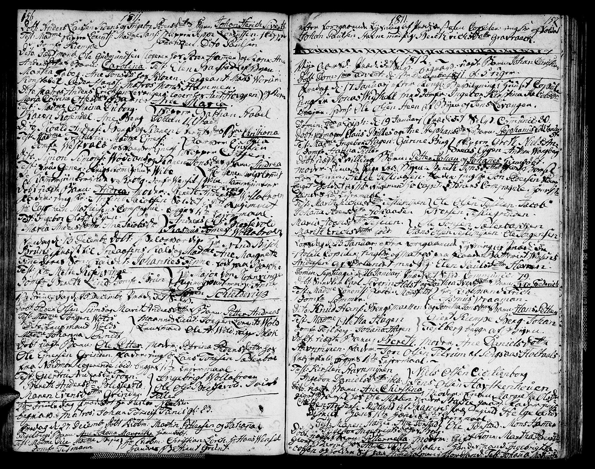 SAT, Ministerialprotokoller, klokkerbøker og fødselsregistre - Sør-Trøndelag, 604/L0181: Ministerialbok nr. 604A02, 1798-1817, s. 156-157