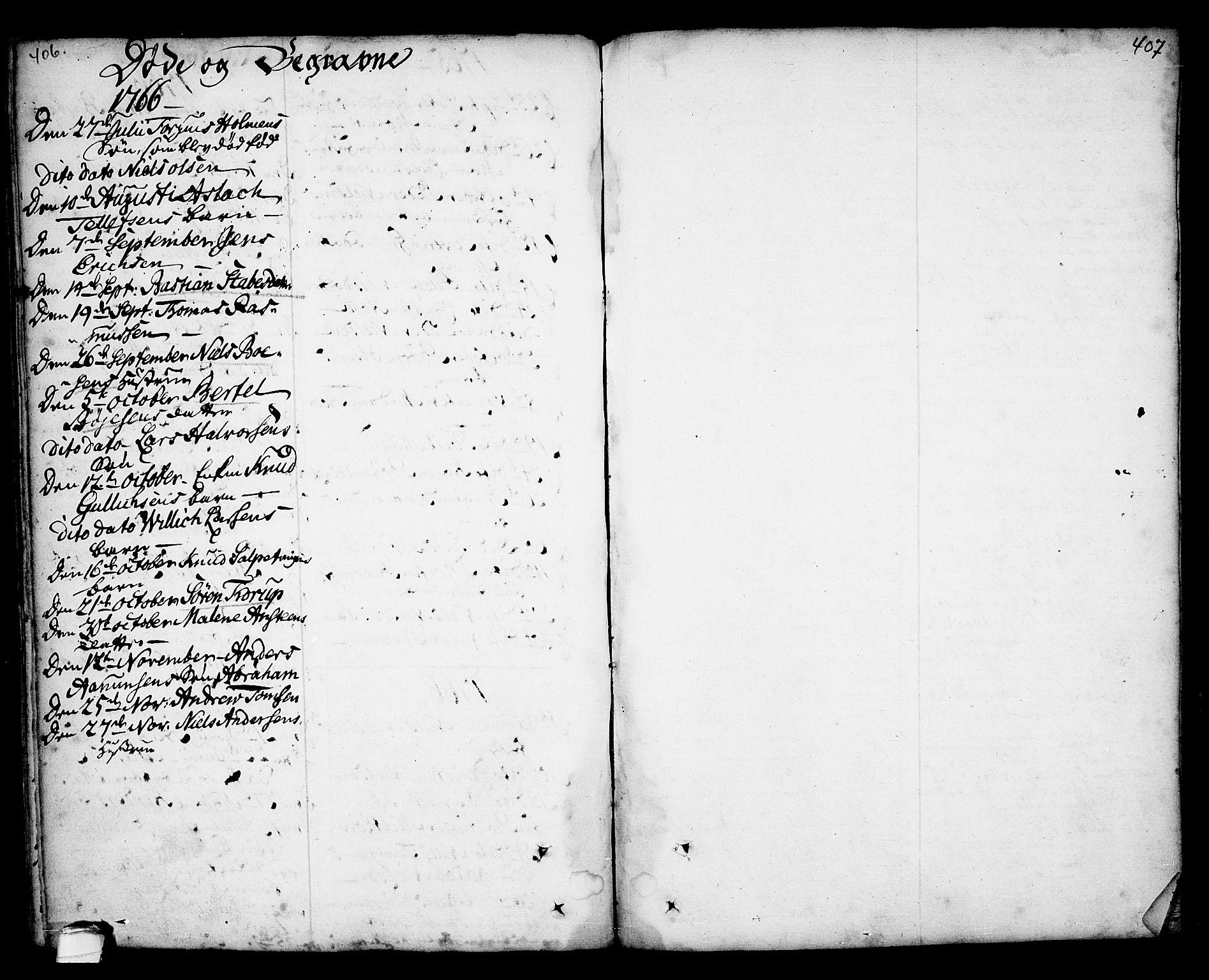 SAKO, Kragerø kirkebøker, F/Fa/L0001: Ministerialbok nr. 1, 1702-1766, s. 406-407