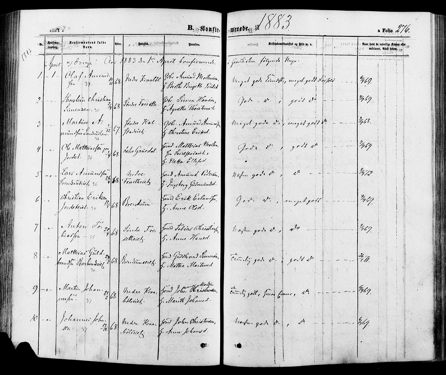 SAH, Gausdal prestekontor, Ministerialbok nr. 10, 1867-1886, s. 276