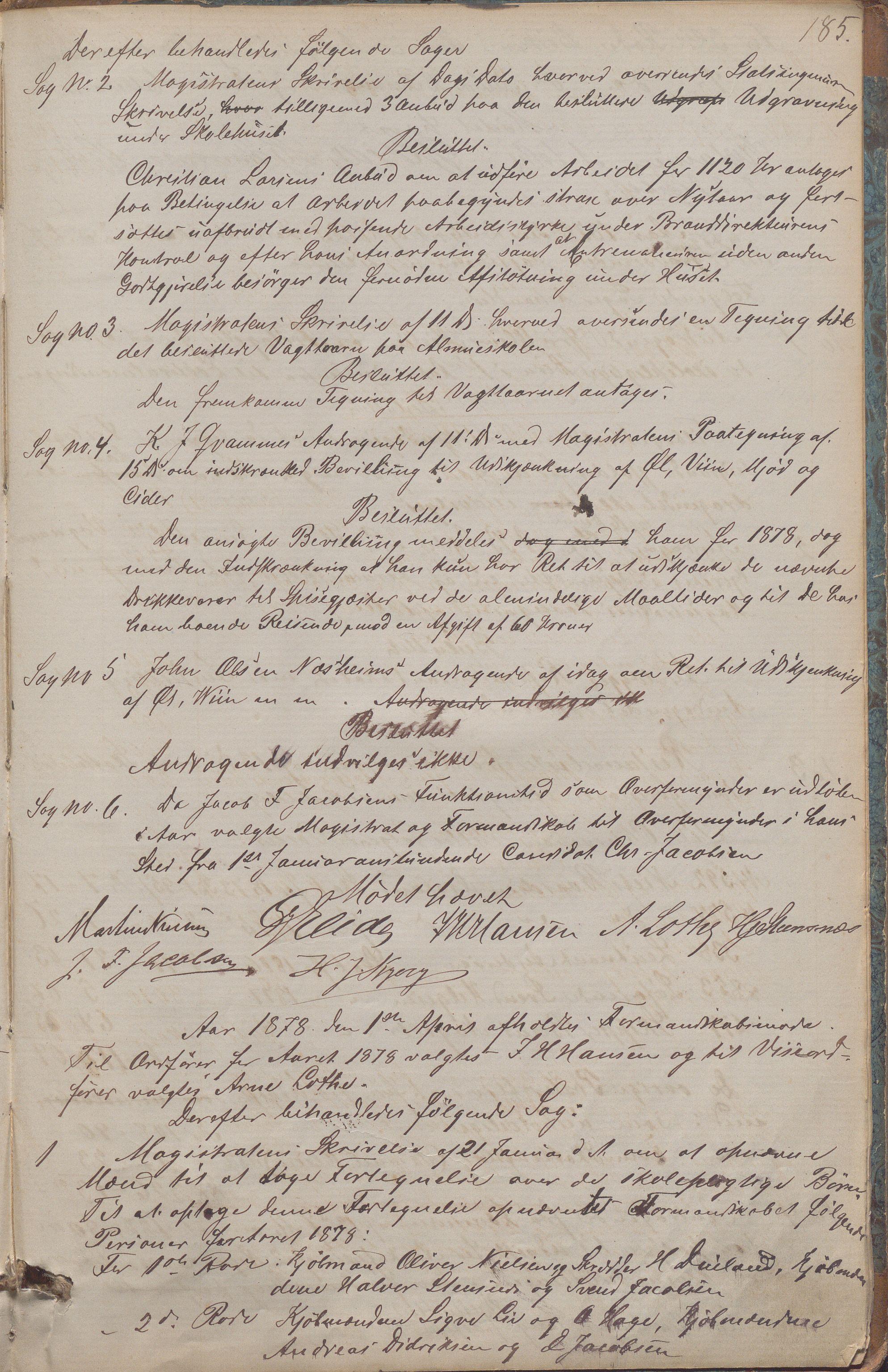 IKAR, Haugesund kommune - Formannskapet, 1866-1878, s. 185a
