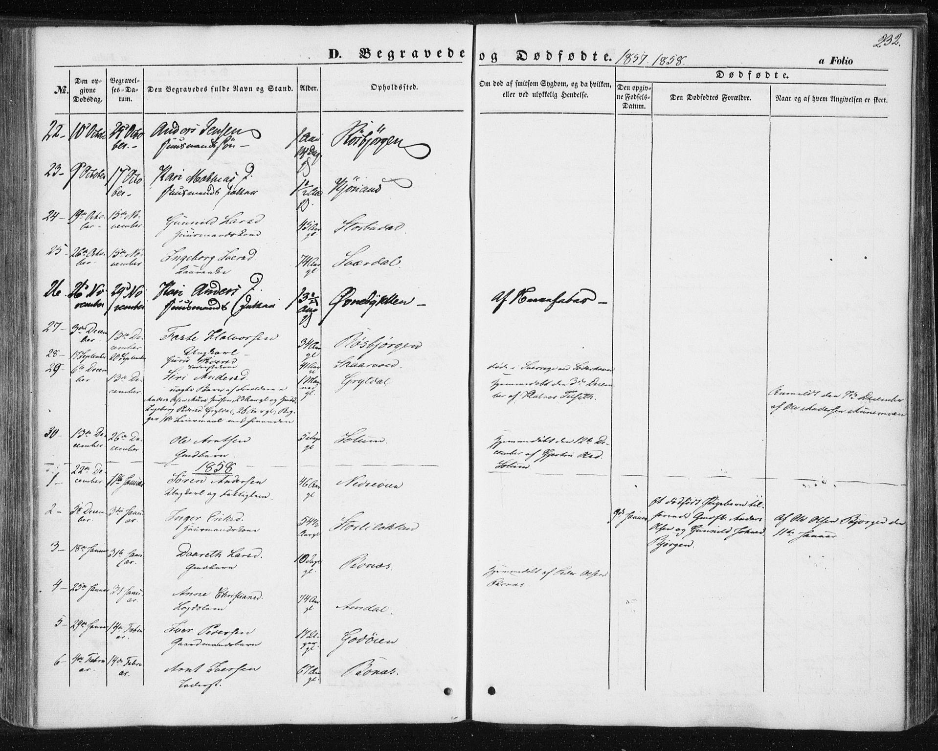 SAT, Ministerialprotokoller, klokkerbøker og fødselsregistre - Sør-Trøndelag, 687/L1000: Ministerialbok nr. 687A06, 1848-1869, s. 232