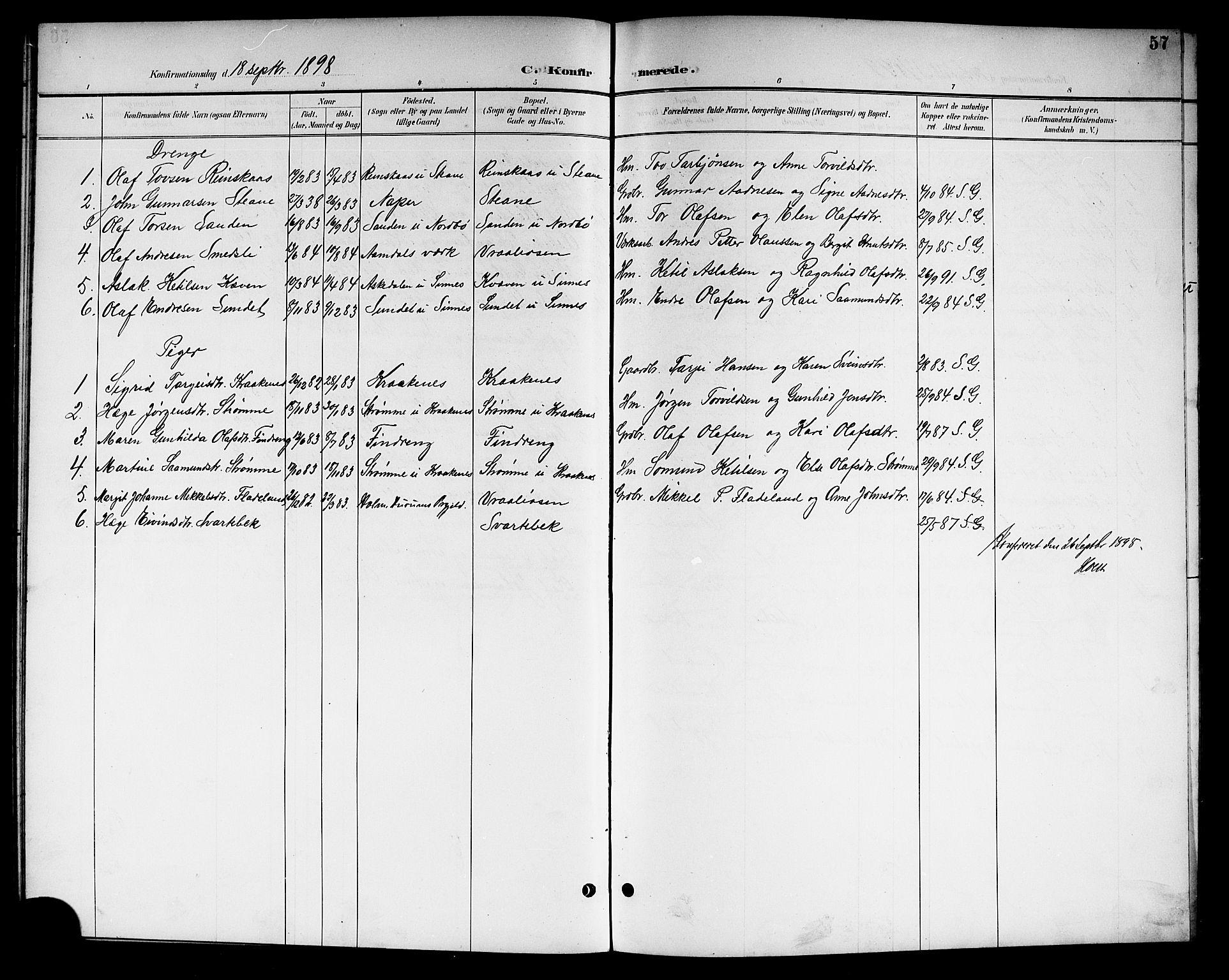SAKO, Kviteseid kirkebøker, G/Gc/L0001: Klokkerbok nr. III 1, 1893-1916, s. 57