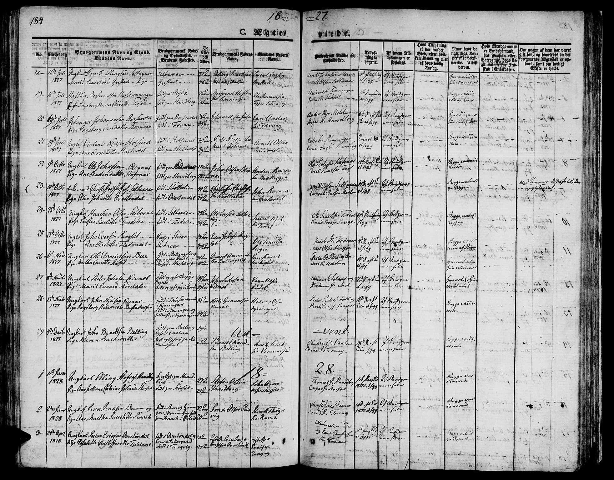 SAT, Ministerialprotokoller, klokkerbøker og fødselsregistre - Sør-Trøndelag, 646/L0609: Ministerialbok nr. 646A07, 1826-1838, s. 184