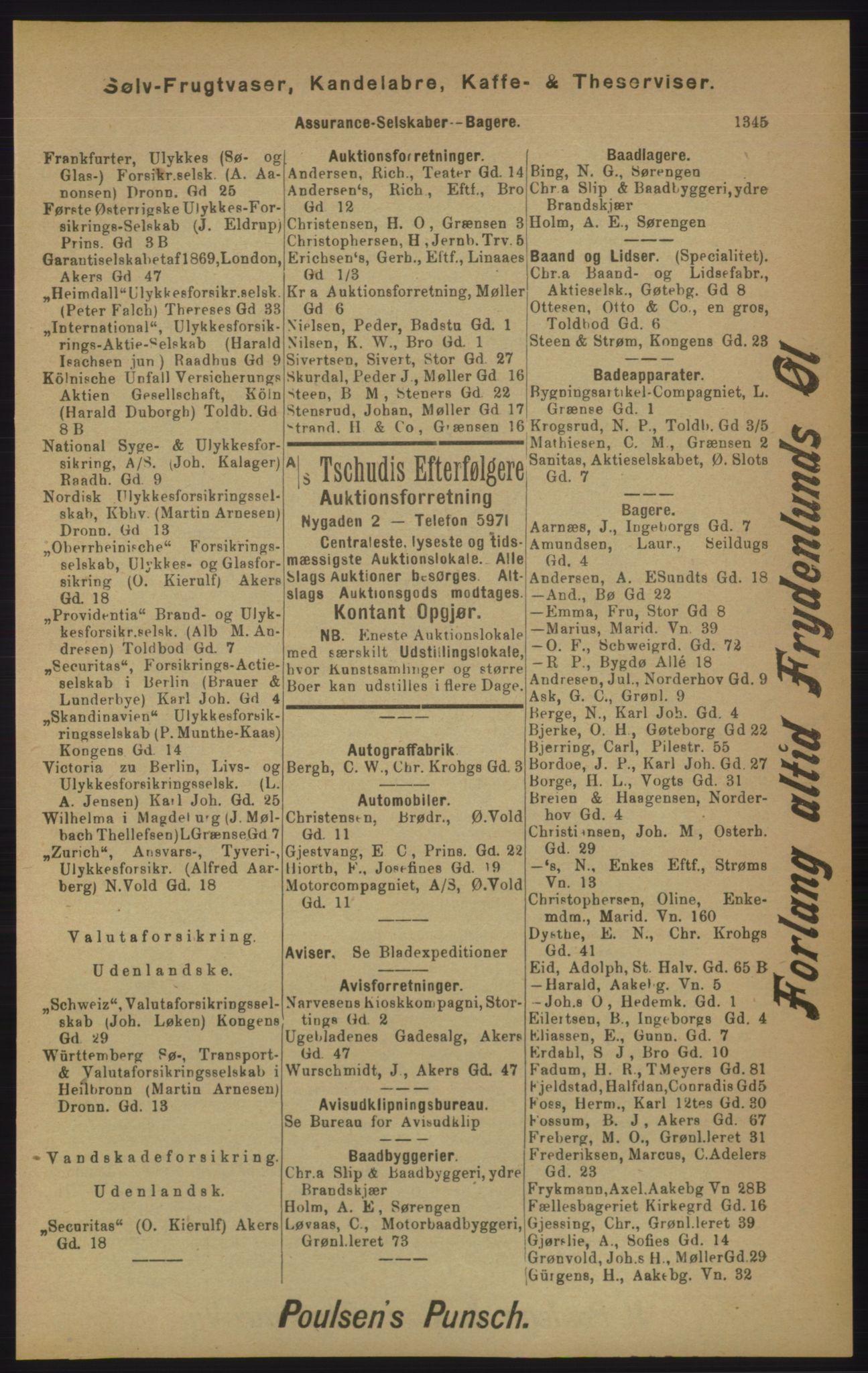 RA, Kristiania adressebok (publikasjon)*, 1905, s. 1345