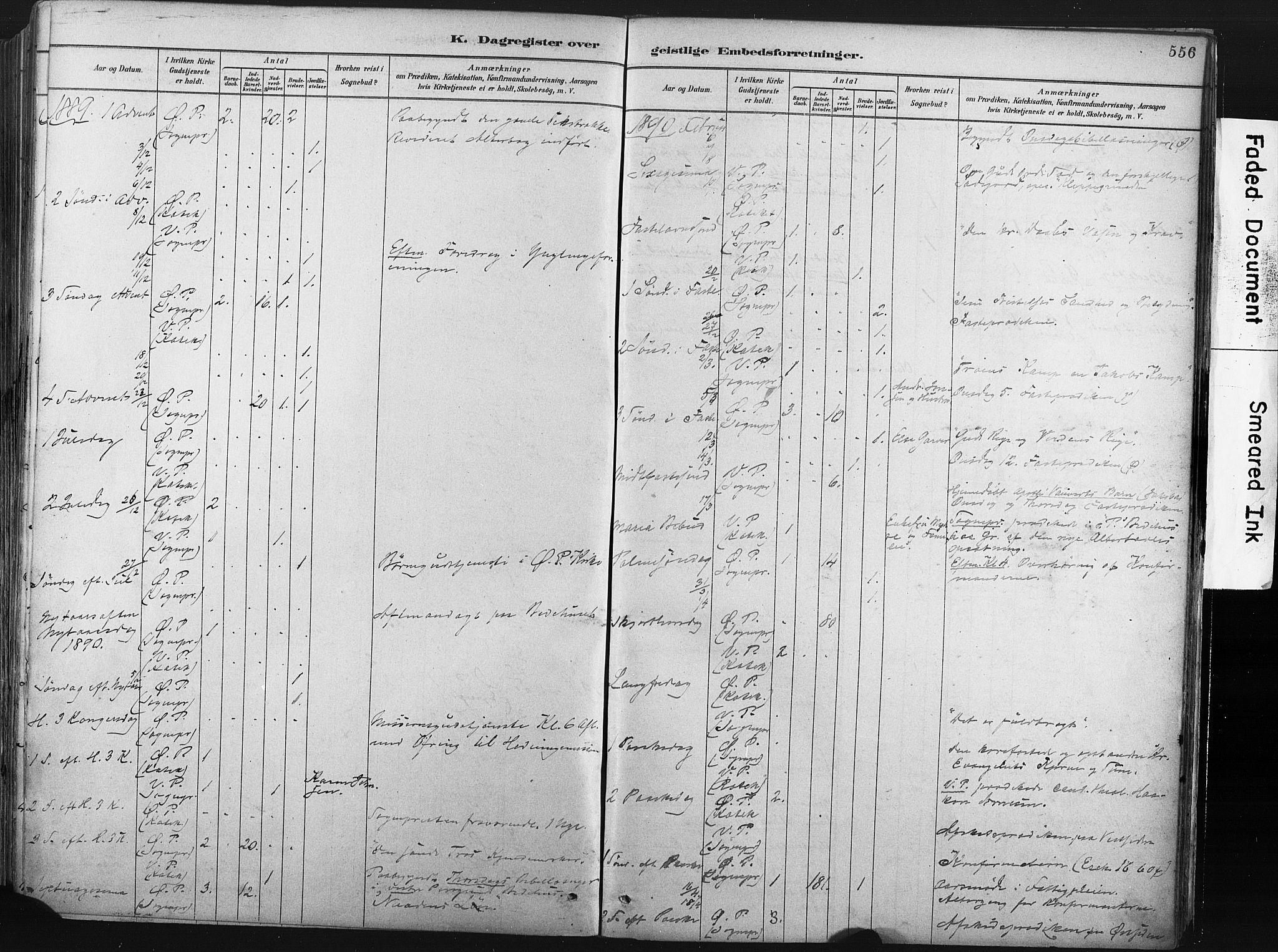 SAKO, Porsgrunn kirkebøker , F/Fa/L0008: Ministerialbok nr. 8, 1878-1895, s. 556
