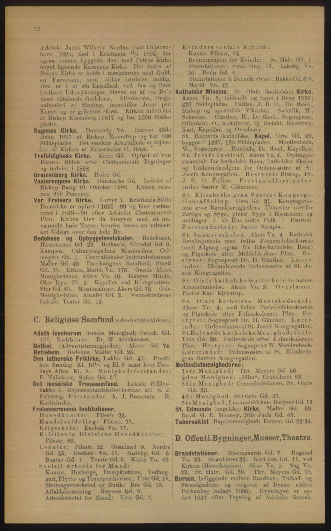 RA, Kristiania adressebok (publikasjon)*, 1906, s. 92