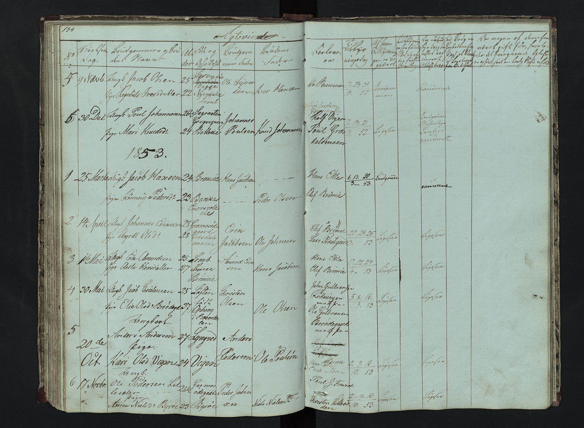SAH, Lom prestekontor, L/L0014: Klokkerbok nr. 14, 1845-1876, s. 154-155