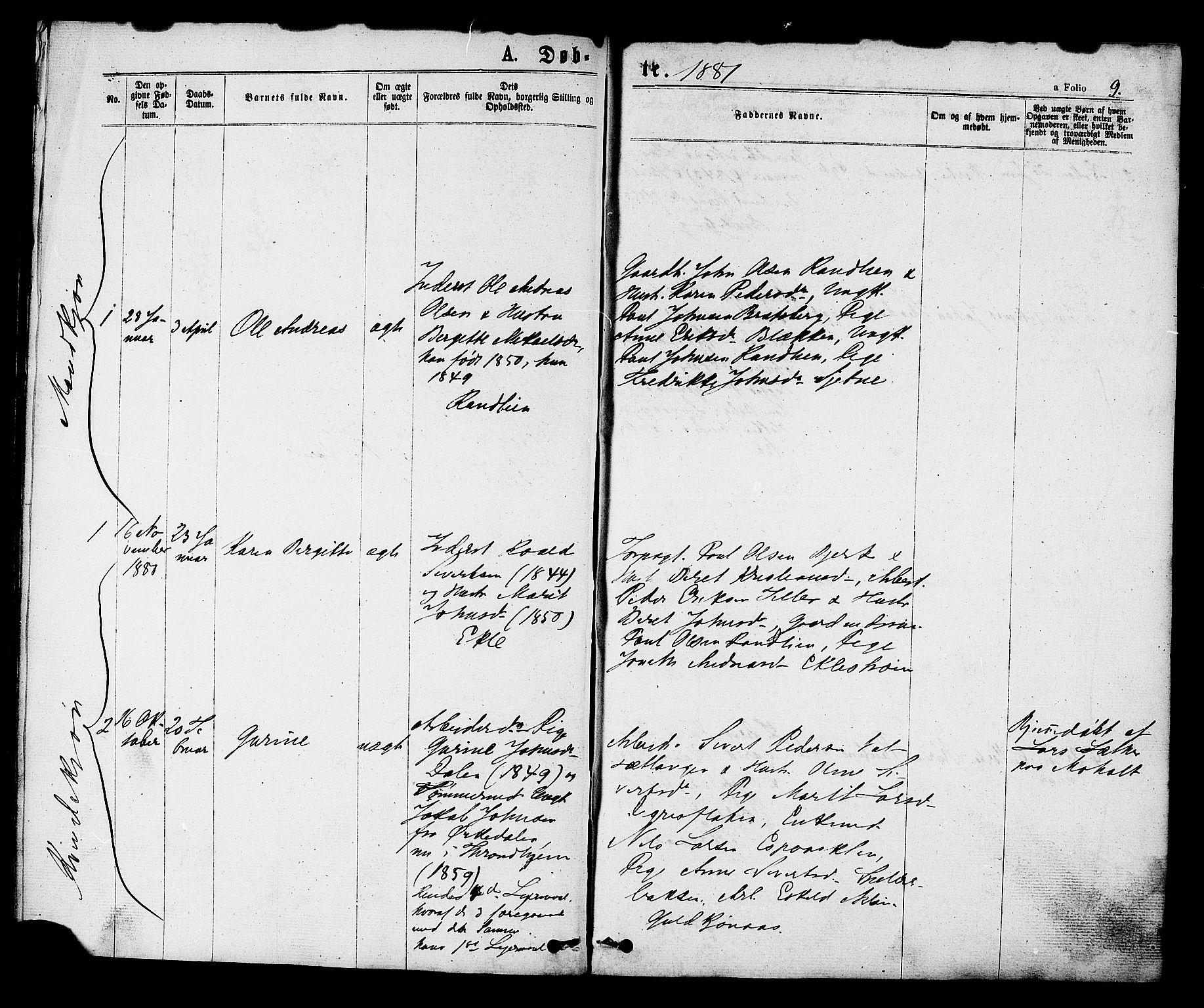 SAT, Ministerialprotokoller, klokkerbøker og fødselsregistre - Sør-Trøndelag, 608/L0334: Ministerialbok nr. 608A03, 1877-1886, s. 9