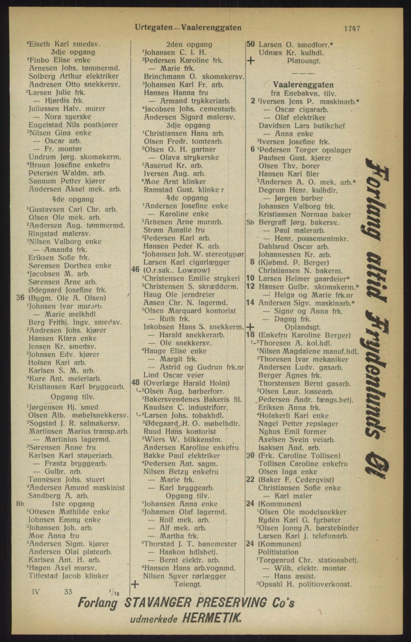 RA, Kristiania adressebok (publikasjon)*, 1915, s. 1747