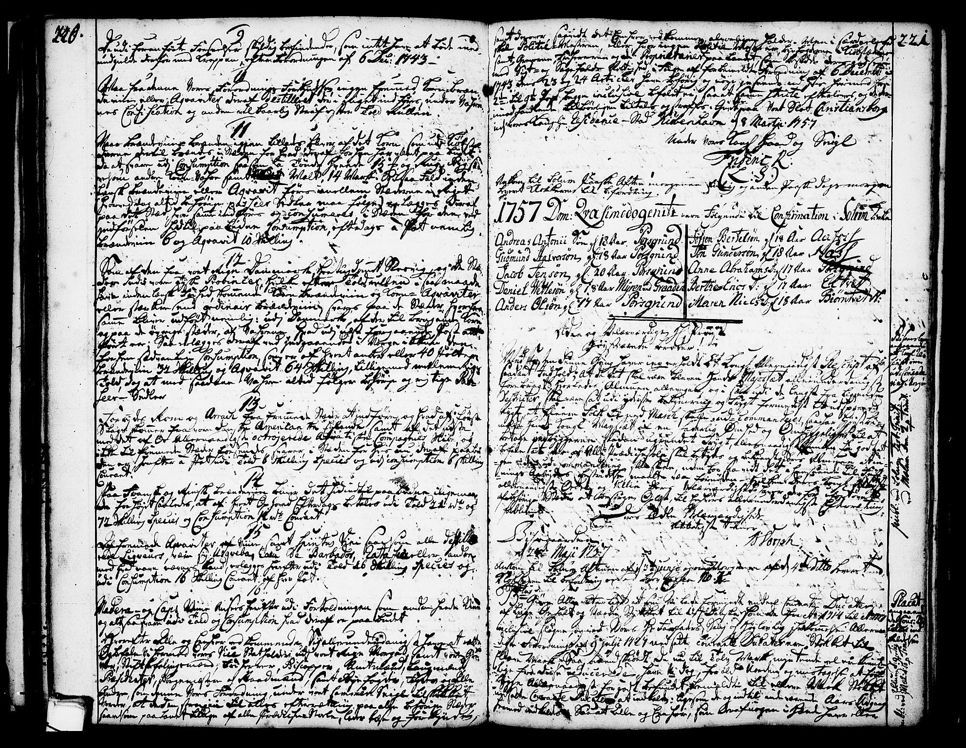 SAKO, Solum kirkebøker, Annen kirkebok nr. ?, 1743-1791, s. 220-221