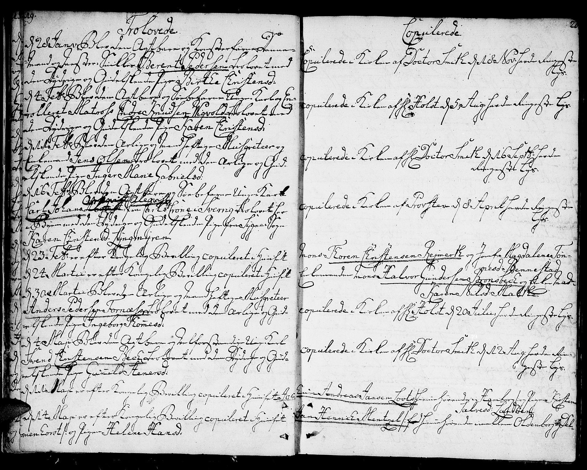 SAK, Kristiansand domprosti, F/Fa/L0005: Ministerialbok nr. A 5, 1776-1818, s. 19-20