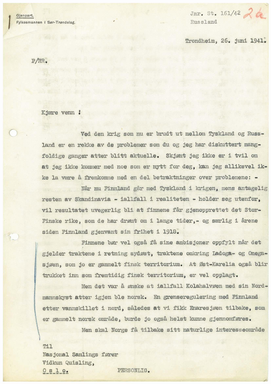 RA, Førerens og ministerpresidentens kanselli. Utenriksavdelingen, D/L0021, 1941-1944, s. 1