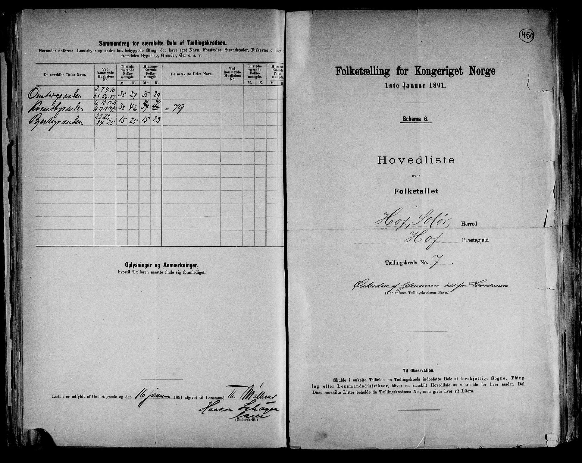 RA, Folketelling 1891 for 0424 Hof herred, 1891, s. 17