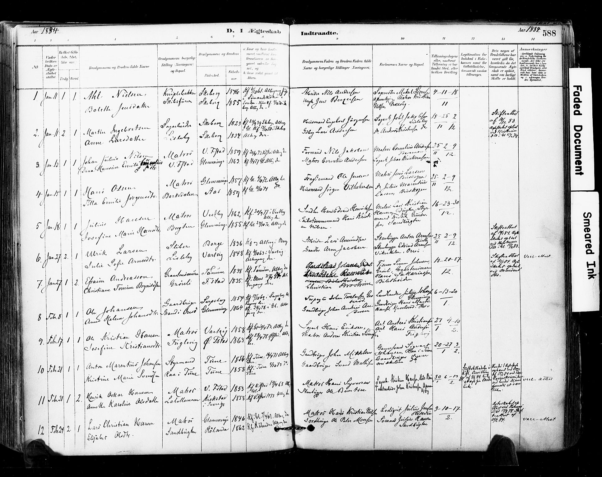 SAO, Glemmen prestekontor Kirkebøker, F/Fa/L0011: Ministerialbok nr. 11, 1878-1917, s. 588
