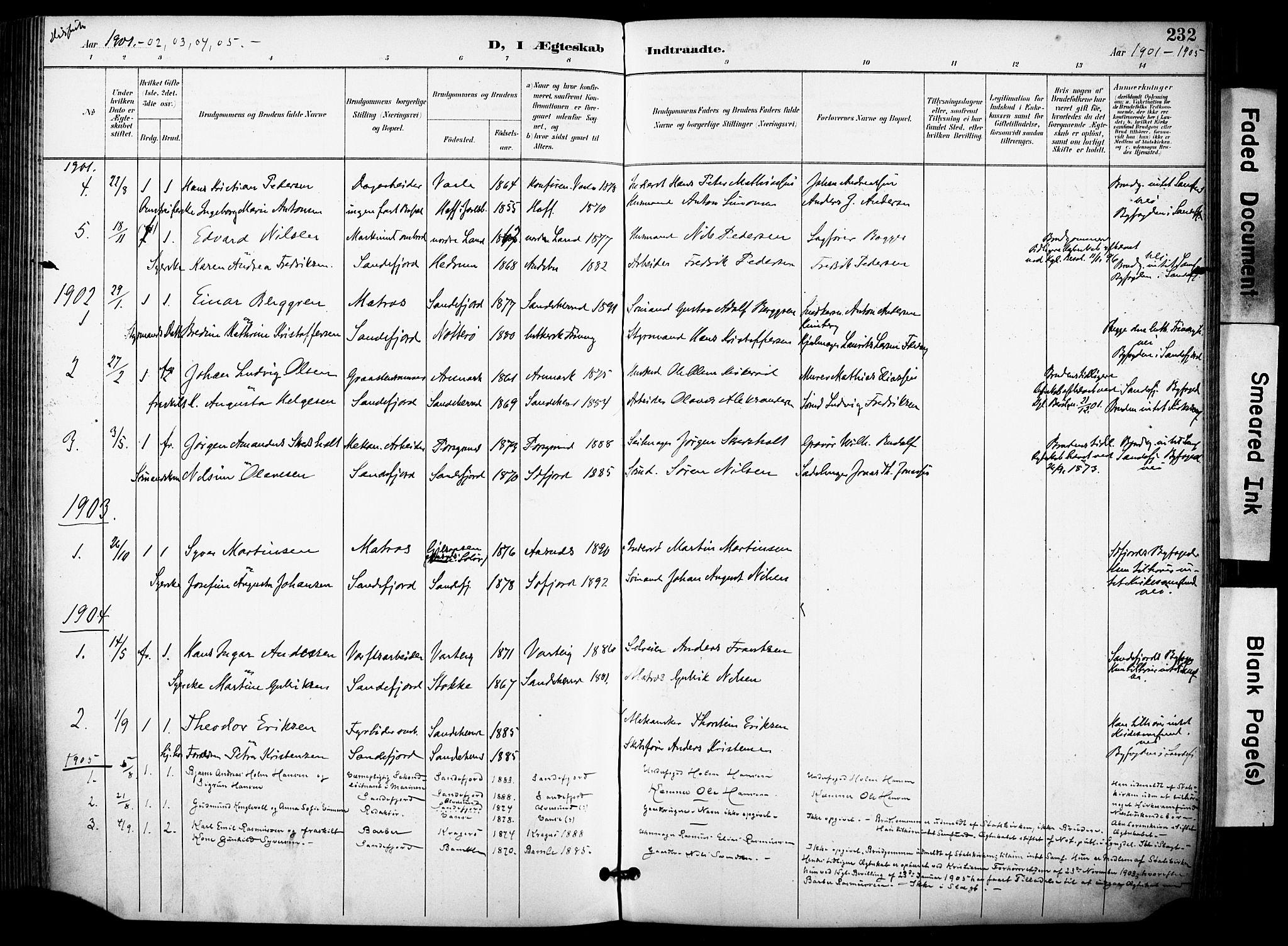 SAKO, Sandefjord kirkebøker, F/Fa/L0004: Ministerialbok nr. 4, 1894-1905, s. 232