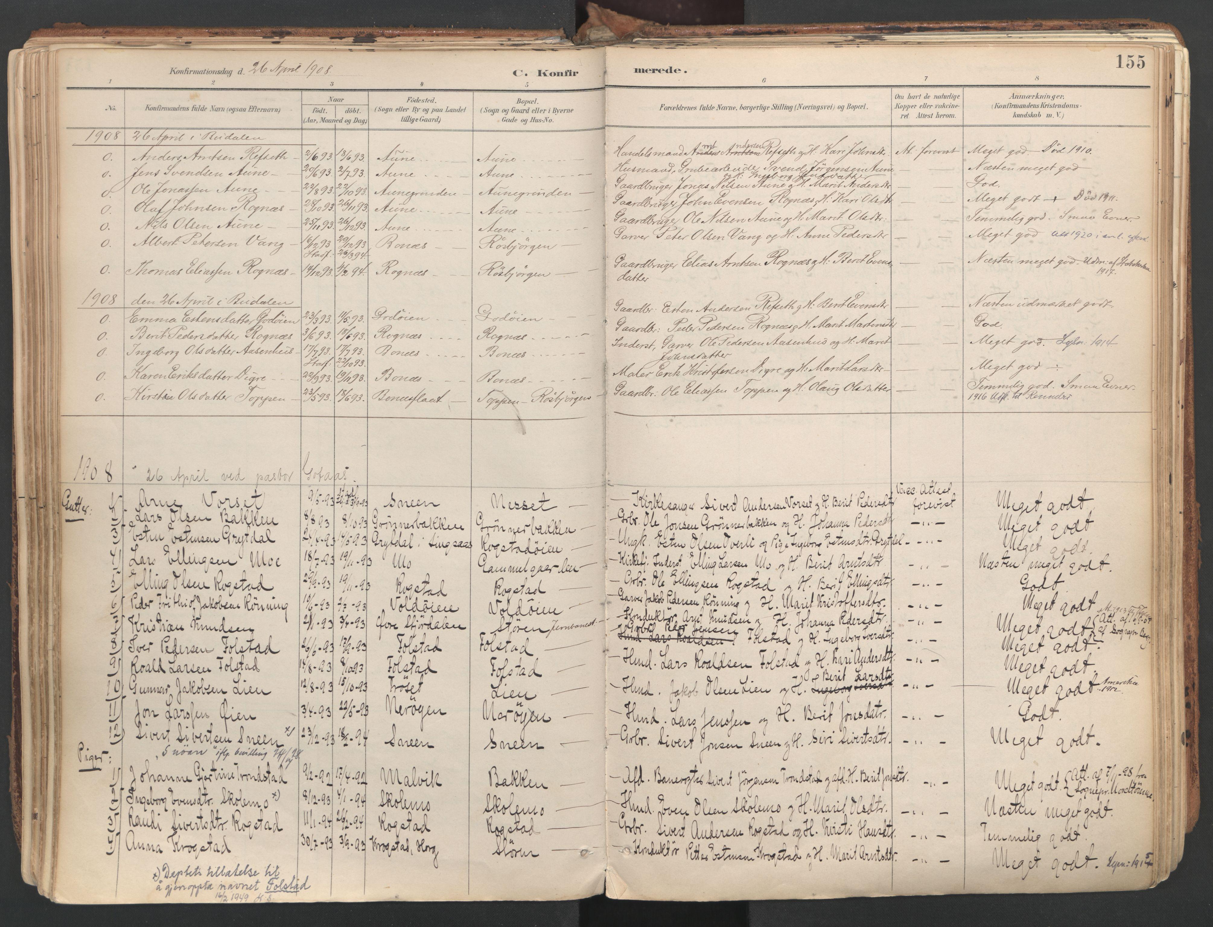 SAT, Ministerialprotokoller, klokkerbøker og fødselsregistre - Sør-Trøndelag, 687/L1004: Ministerialbok nr. 687A10, 1891-1923, s. 155