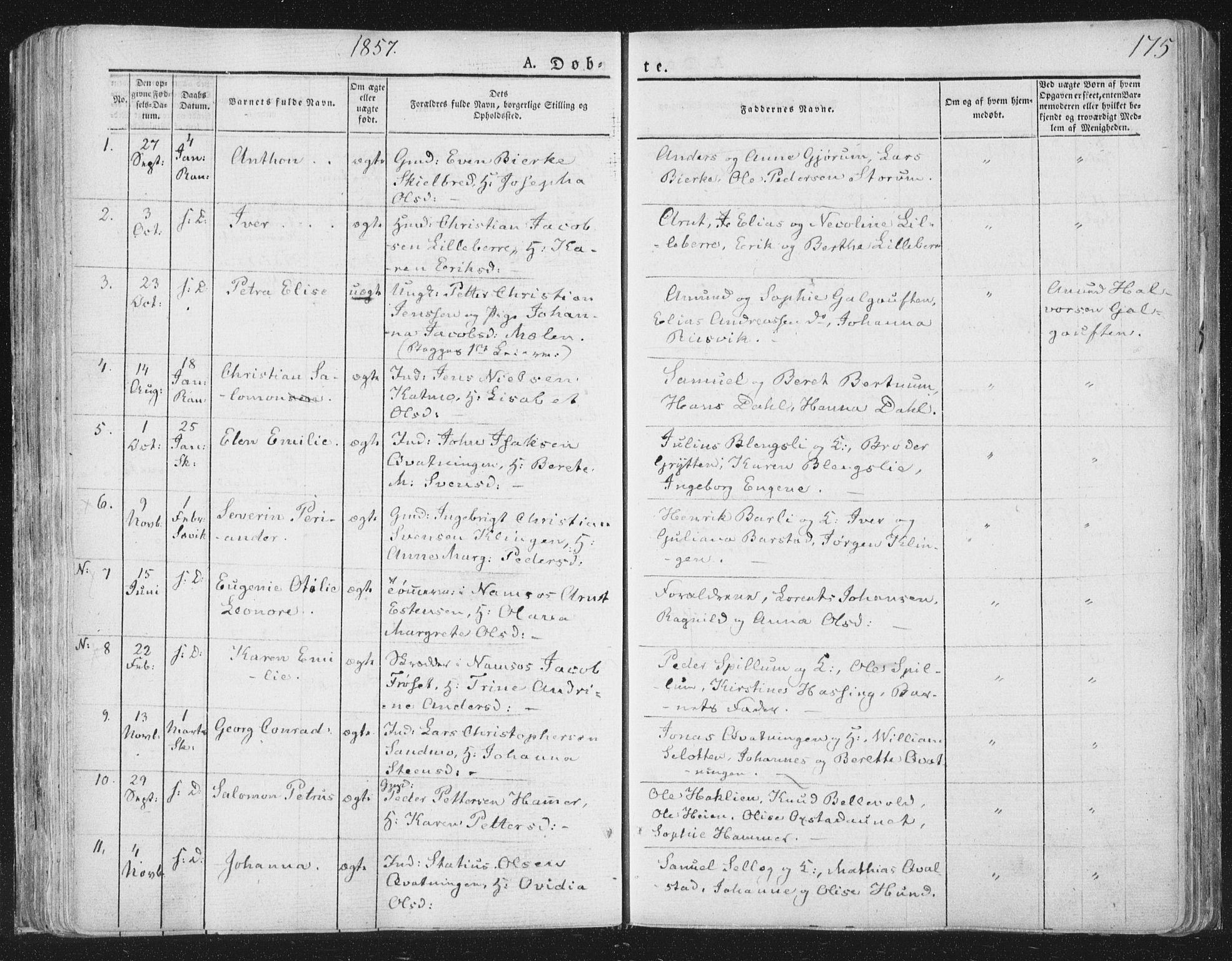 SAT, Ministerialprotokoller, klokkerbøker og fødselsregistre - Nord-Trøndelag, 764/L0551: Ministerialbok nr. 764A07a, 1824-1864, s. 175