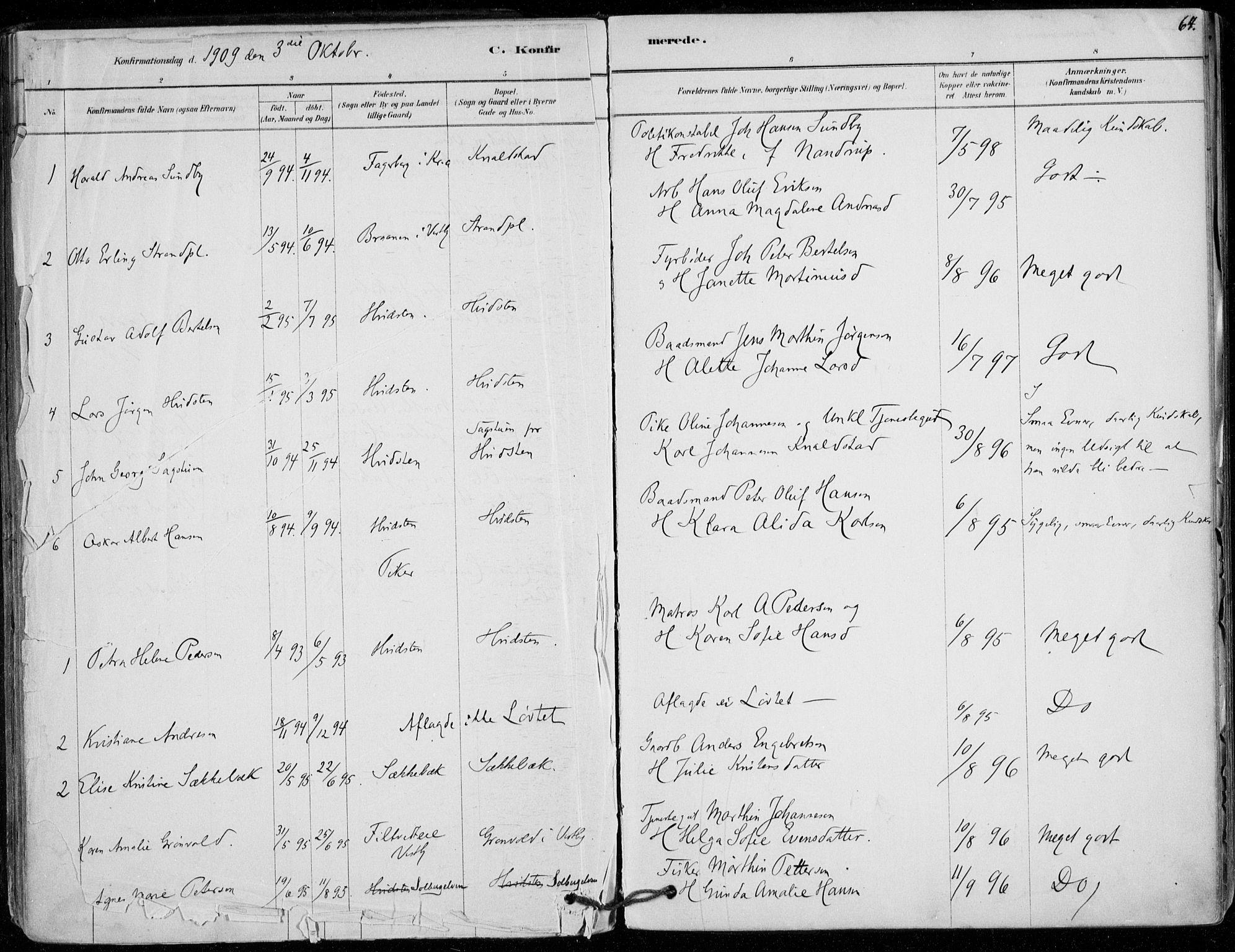 SAO, Vestby prestekontor Kirkebøker, F/Fd/L0001: Ministerialbok nr. IV 1, 1878-1945, s. 64