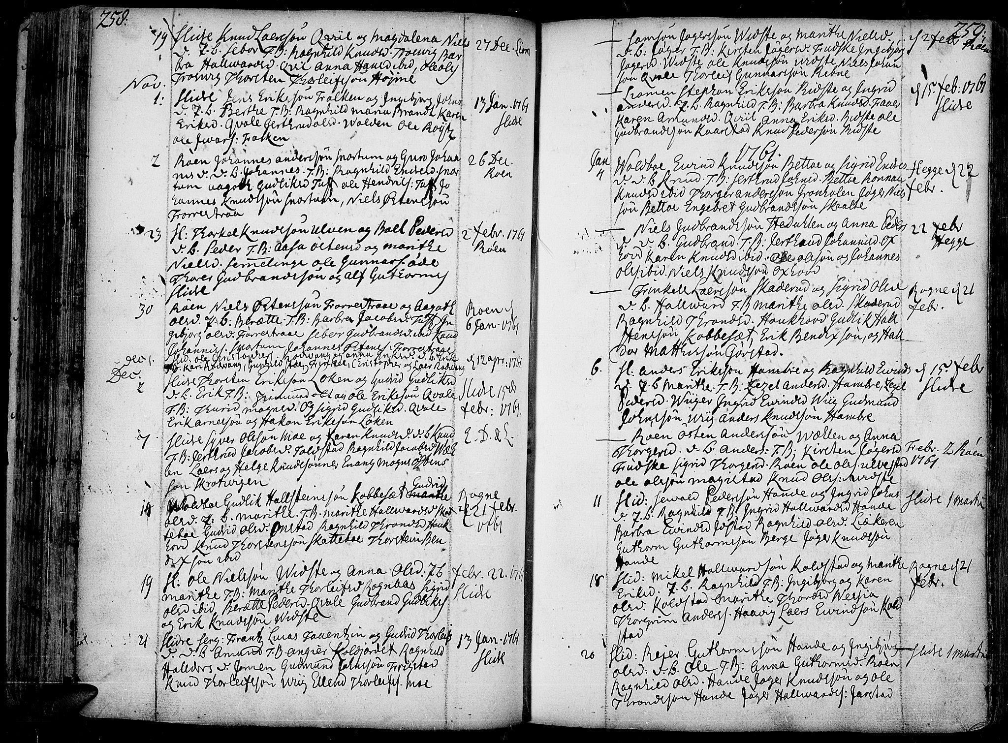 SAH, Slidre prestekontor, Ministerialbok nr. 1, 1724-1814, s. 258-259