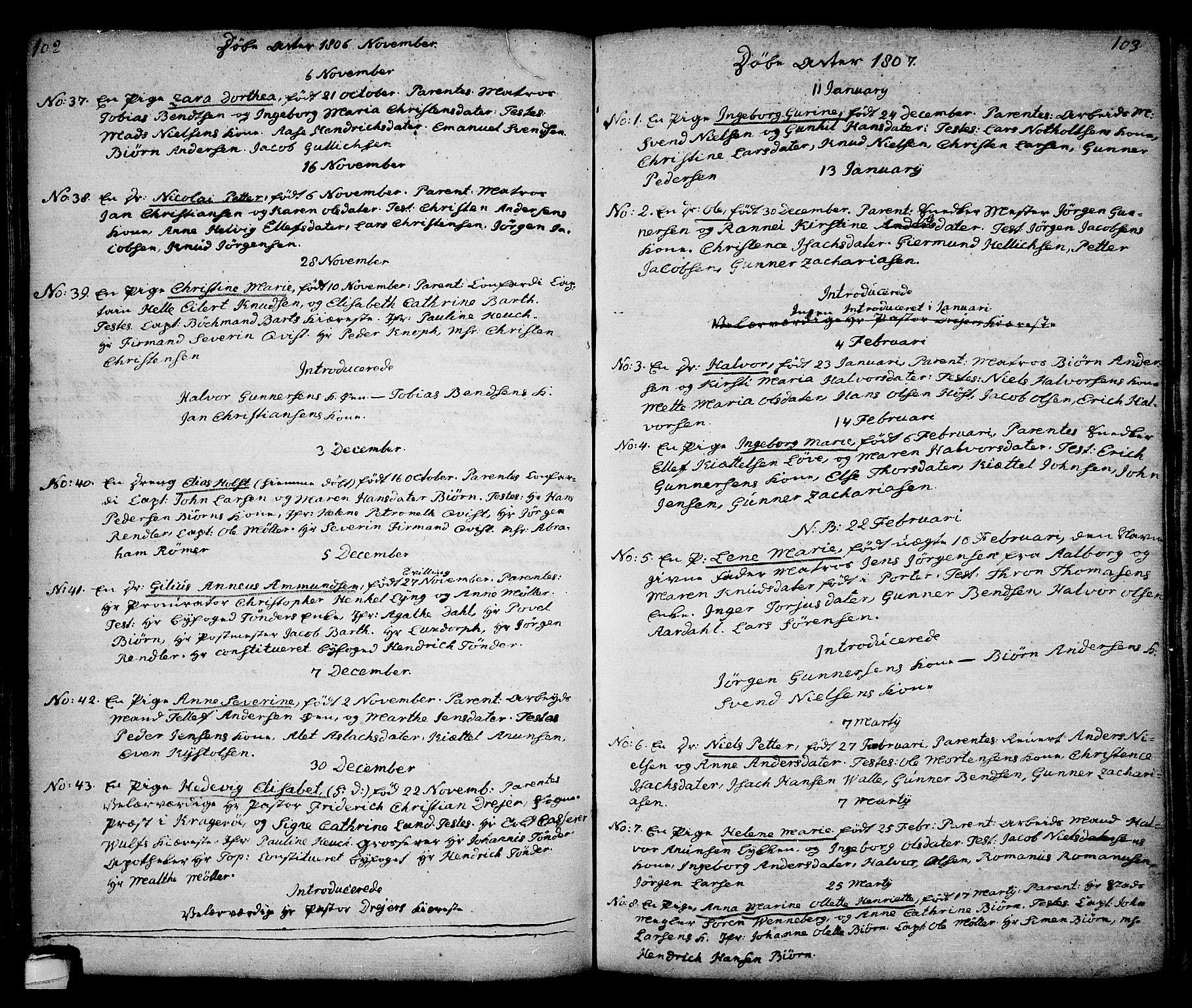 SAKO, Kragerø kirkebøker, G/Ga/L0001: Klokkerbok nr. 1 /1, 1806-1811, s. 102-103