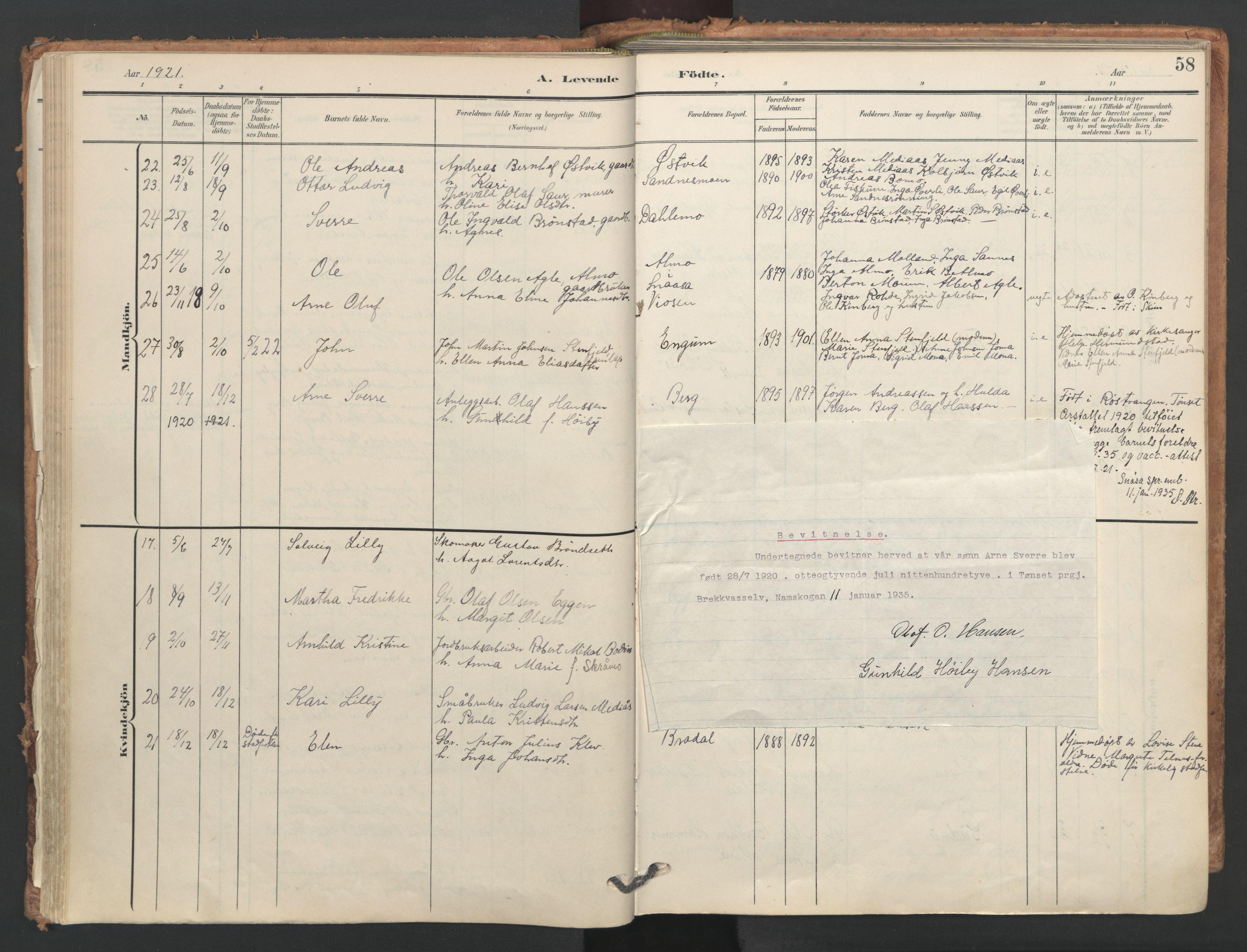 SAT, Ministerialprotokoller, klokkerbøker og fødselsregistre - Nord-Trøndelag, 749/L0477: Ministerialbok nr. 749A11, 1902-1927, s. 58