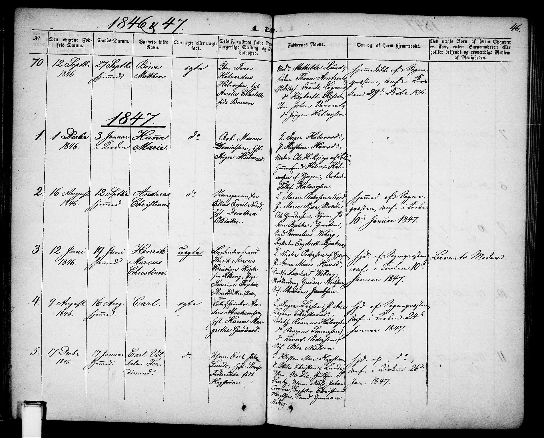 SAKO, Skien kirkebøker, G/Ga/L0004: Klokkerbok nr. 4, 1843-1867, s. 46