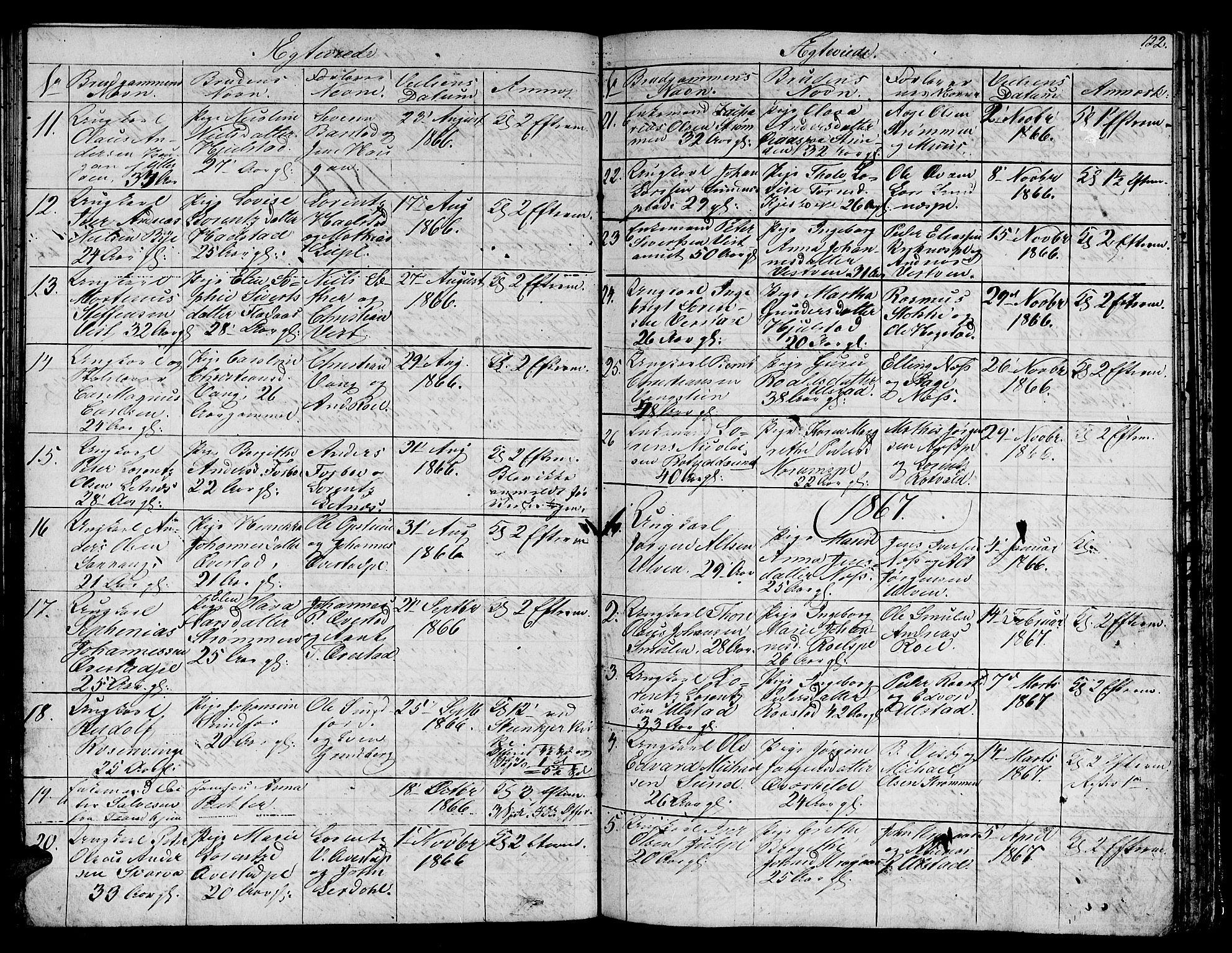 SAT, Ministerialprotokoller, klokkerbøker og fødselsregistre - Nord-Trøndelag, 730/L0299: Klokkerbok nr. 730C02, 1849-1871, s. 122