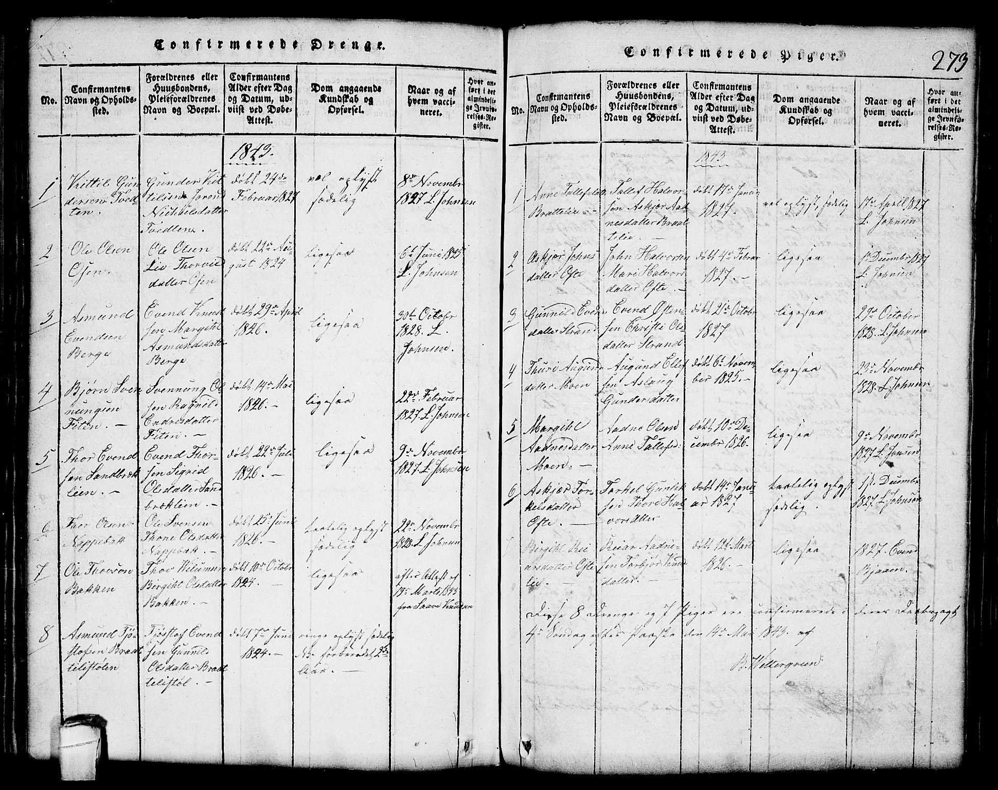 SAKO, Lårdal kirkebøker, G/Gc/L0001: Klokkerbok nr. III 1, 1815-1854, s. 273