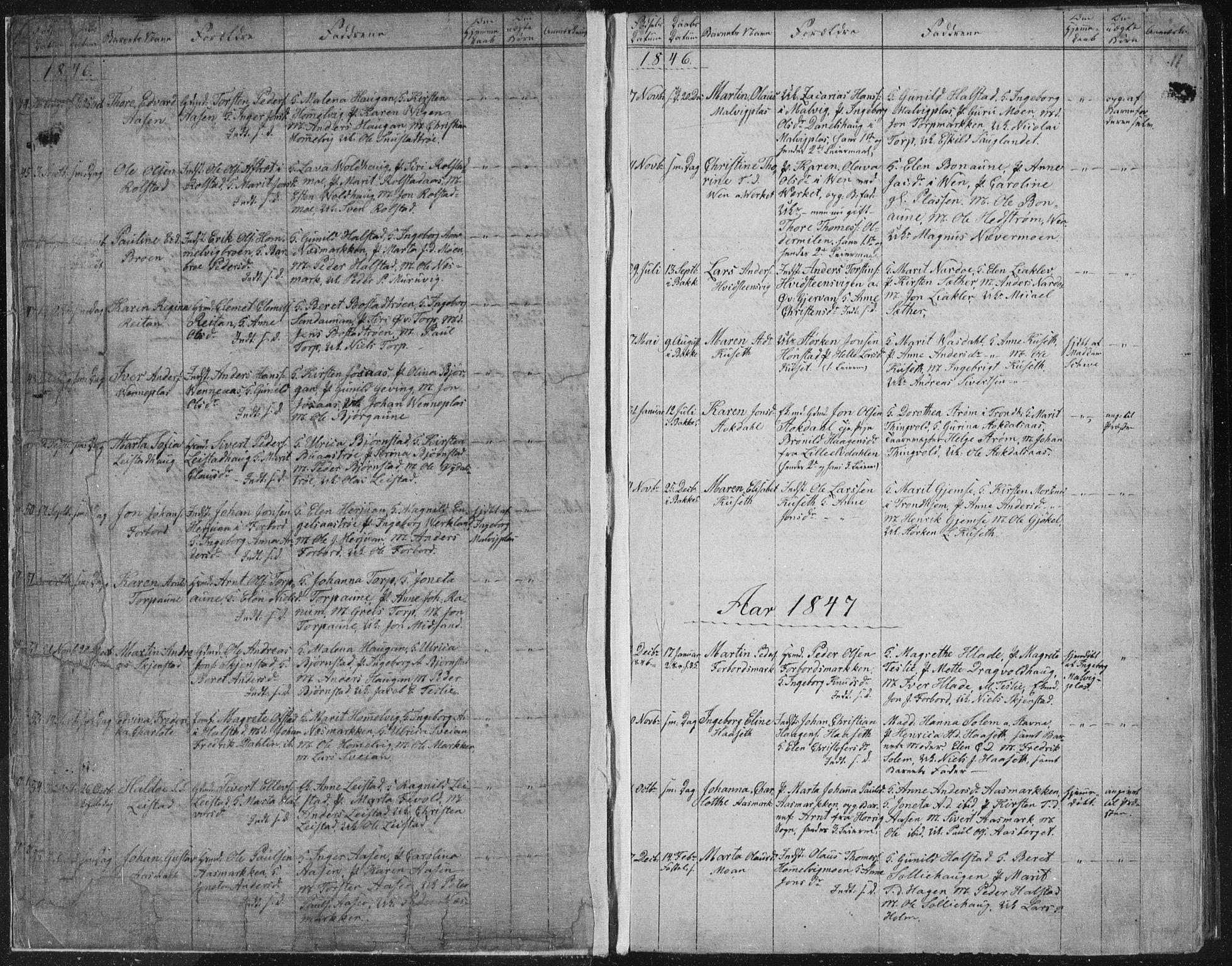 SAT, Ministerialprotokoller, klokkerbøker og fødselsregistre - Sør-Trøndelag, 616/L0406: Ministerialbok nr. 616A03, 1843-1879, s. 11