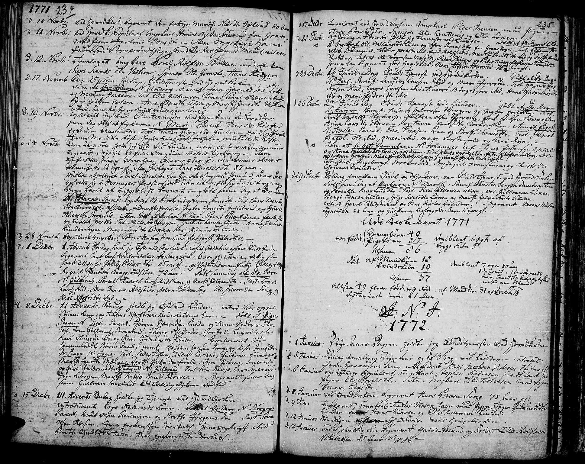 SAH, Jevnaker prestekontor, Ministerialbok nr. 3, 1752-1799, s. 234-235