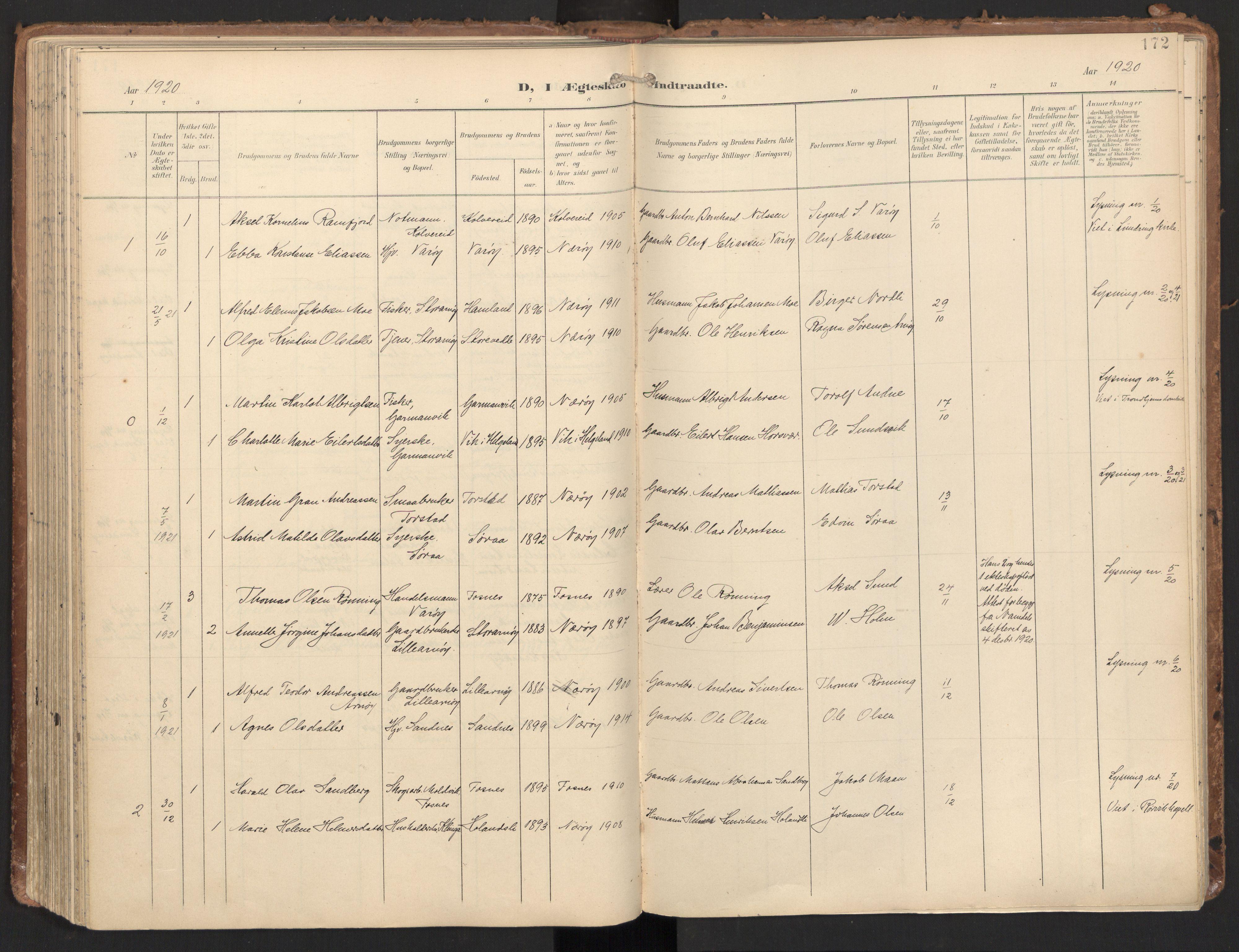 SAT, Ministerialprotokoller, klokkerbøker og fødselsregistre - Nord-Trøndelag, 784/L0677: Ministerialbok nr. 784A12, 1900-1920, s. 172