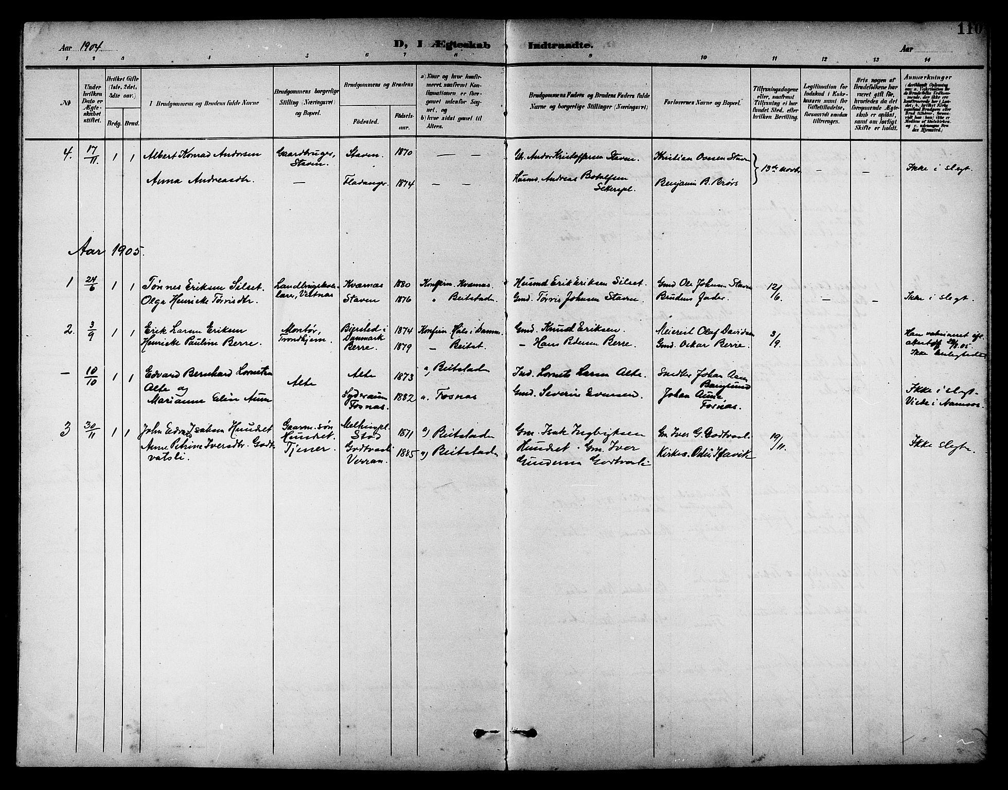 SAT, Ministerialprotokoller, klokkerbøker og fødselsregistre - Nord-Trøndelag, 742/L0412: Klokkerbok nr. 742C03, 1898-1910, s. 110