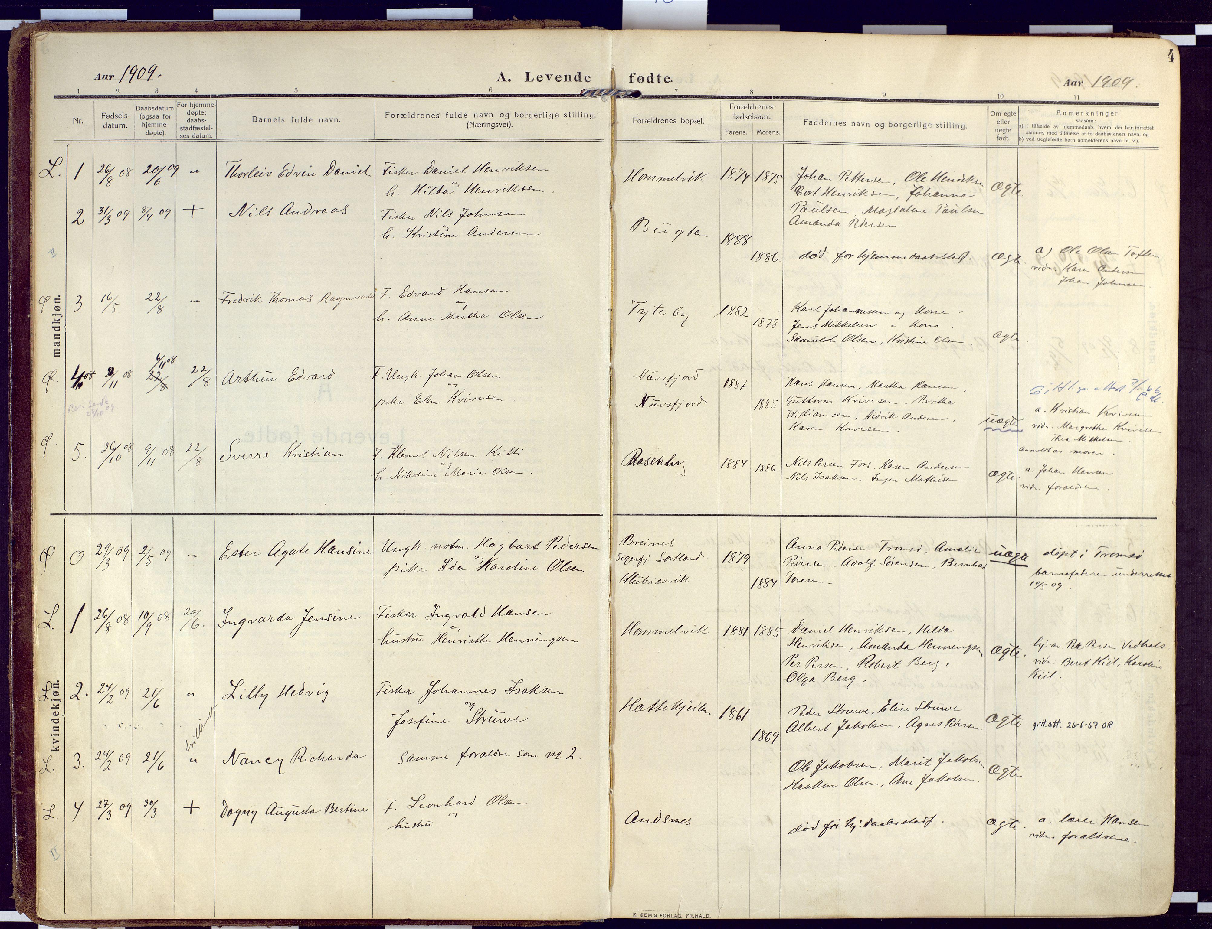 SATØ, Loppa sokneprestkontor, H/Ha/L0011kirke: Ministerialbok nr. 11, 1909-1919, s. 4